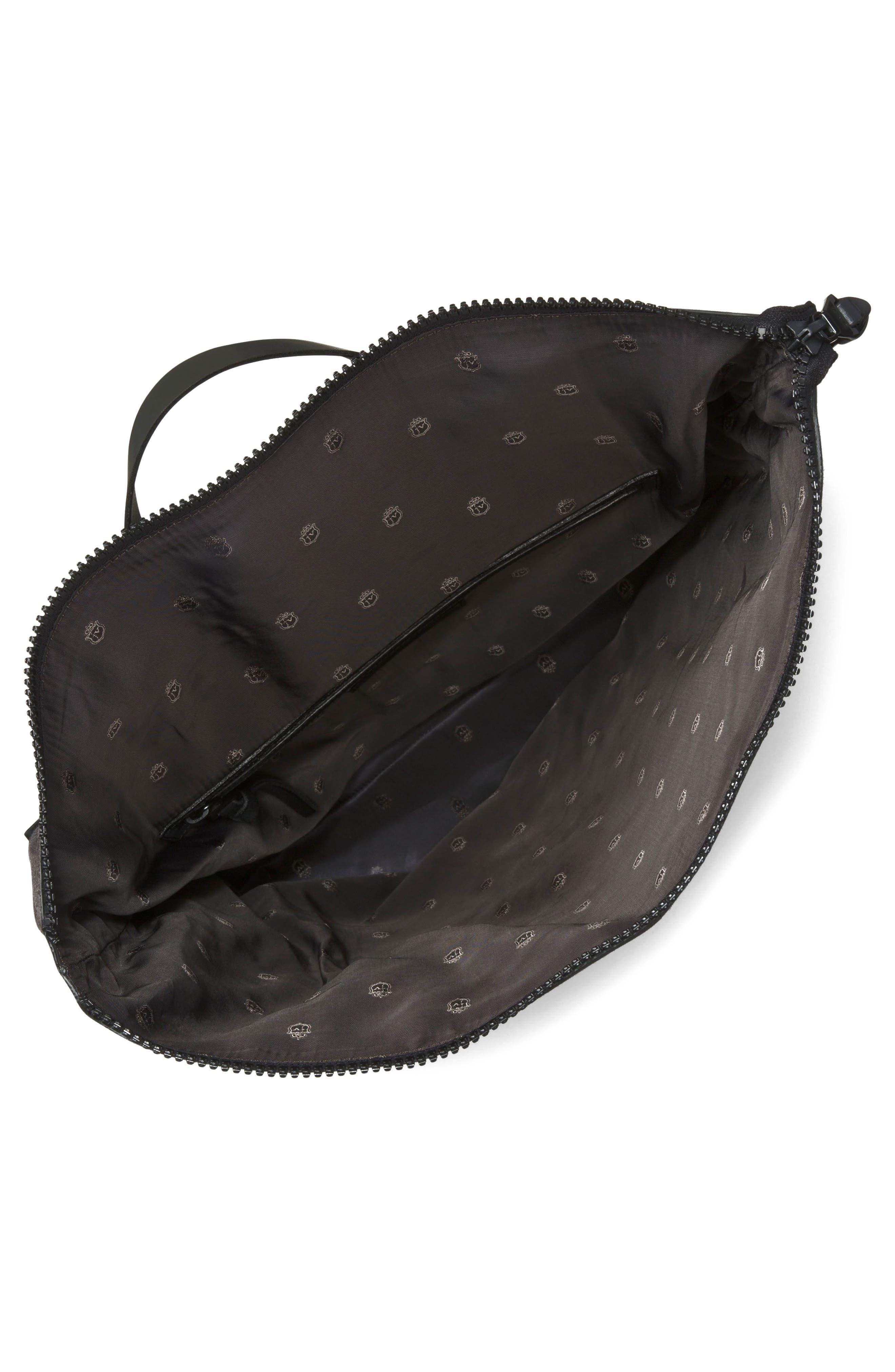 Suede & Ballistic Nylon Backpack,                             Alternate thumbnail 3, color,                             Elephant