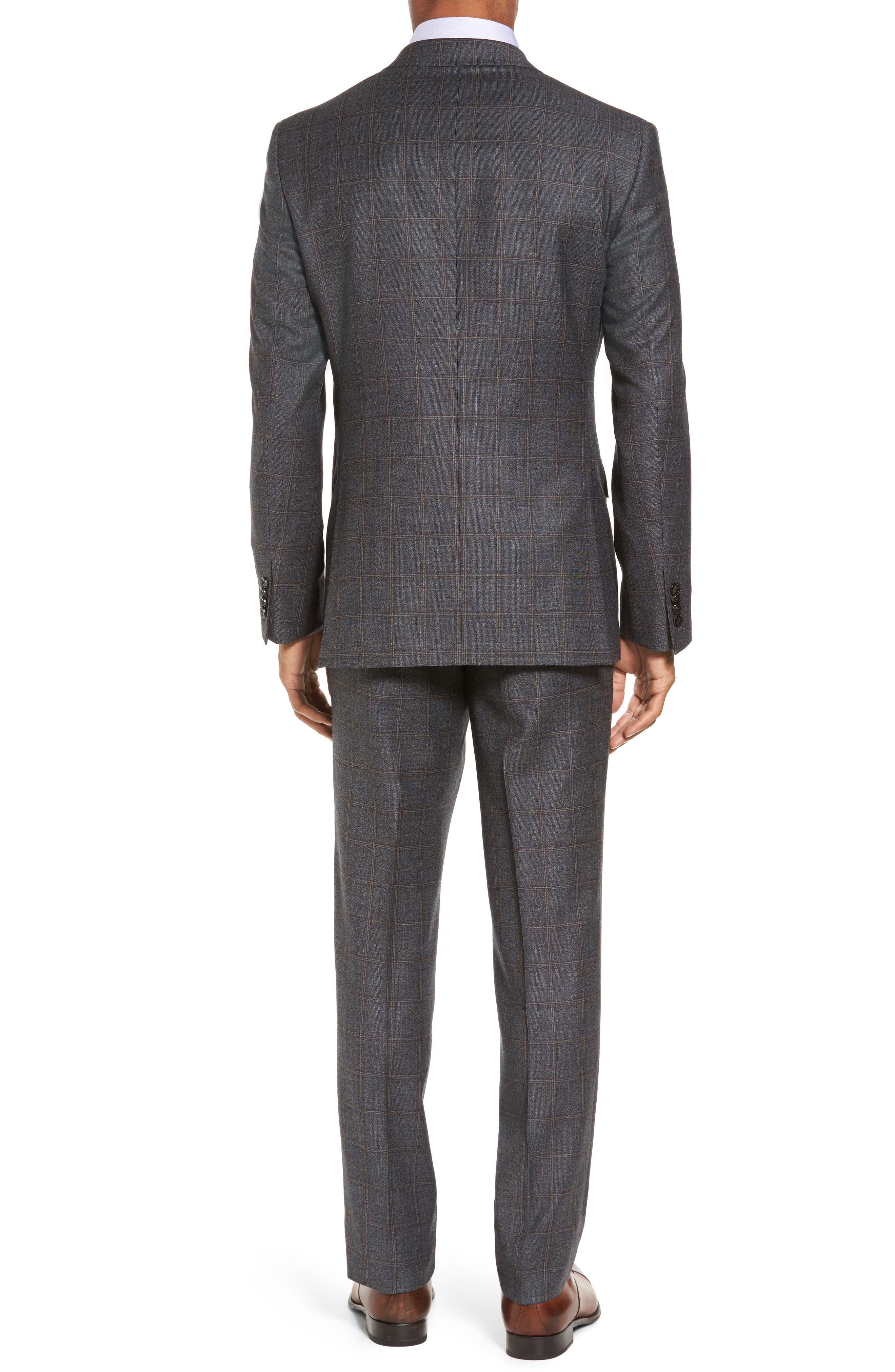 Trim Fit Plaid Wool Suit,                             Alternate thumbnail 2, color,                             Grey