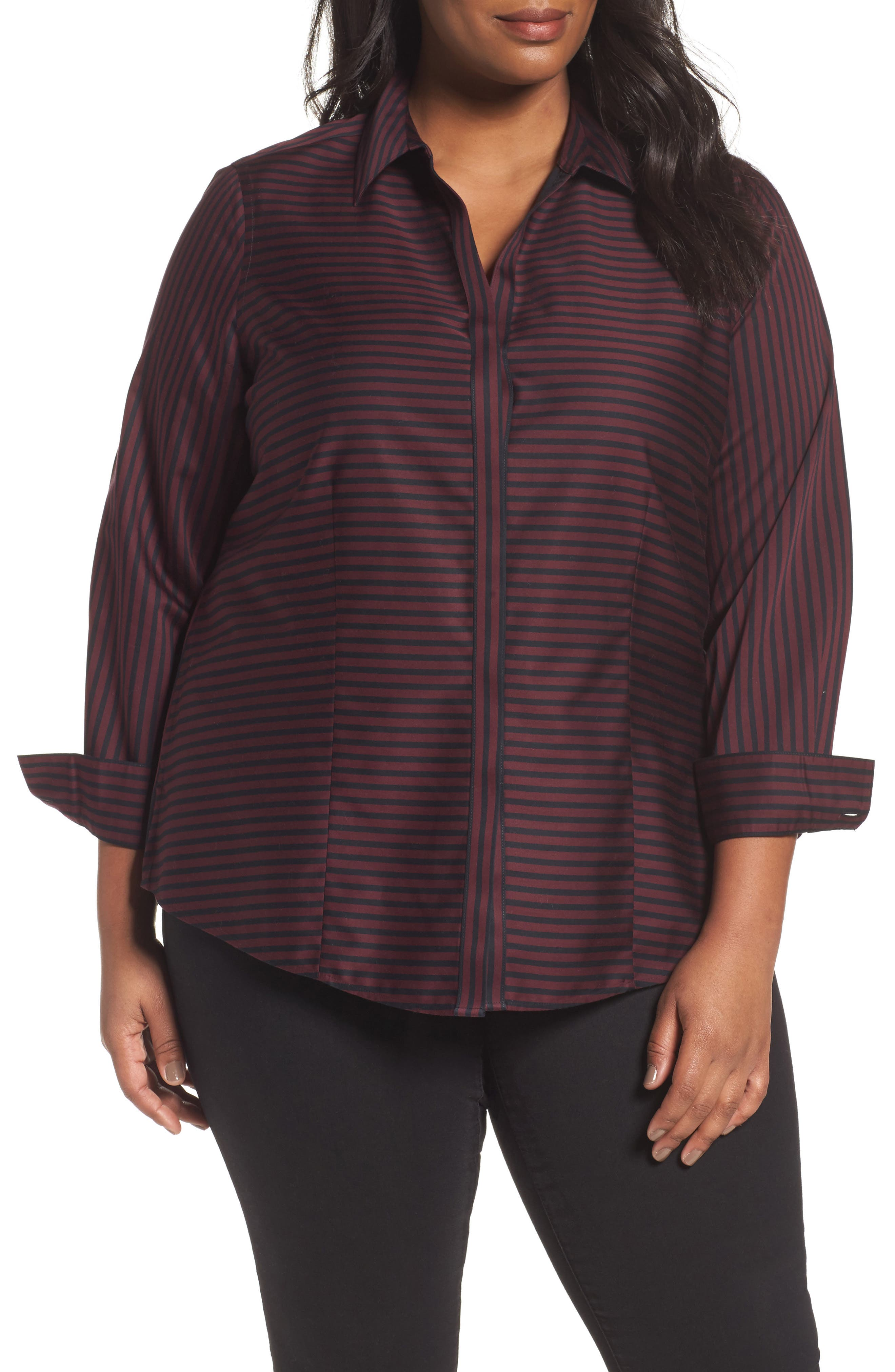 Foxcroft Casey Stripe Sateen Blouse (Plus Size)
