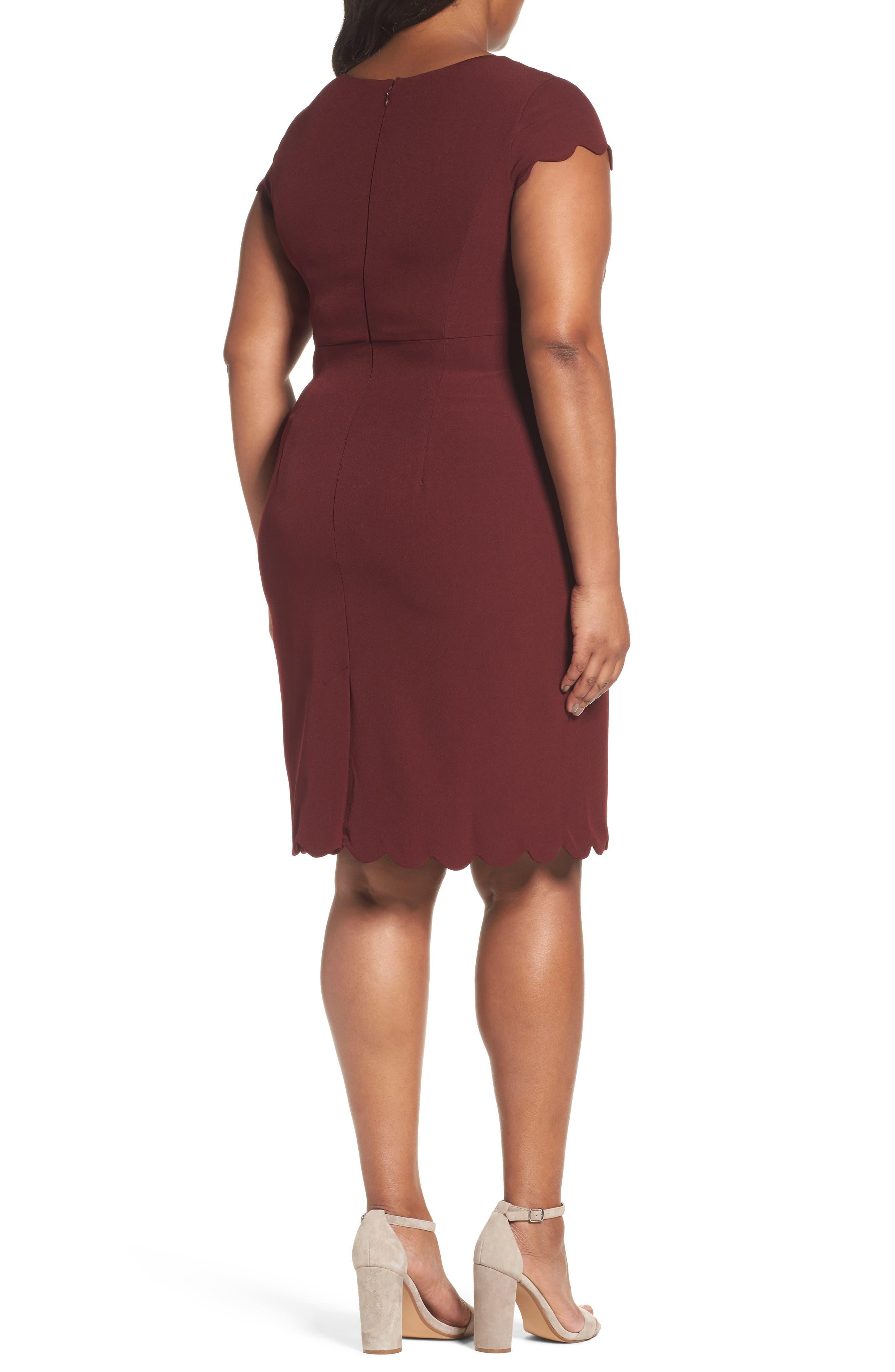 Scalloped Crepe Sheath Dress,                             Alternate thumbnail 2, color,                             Marsala