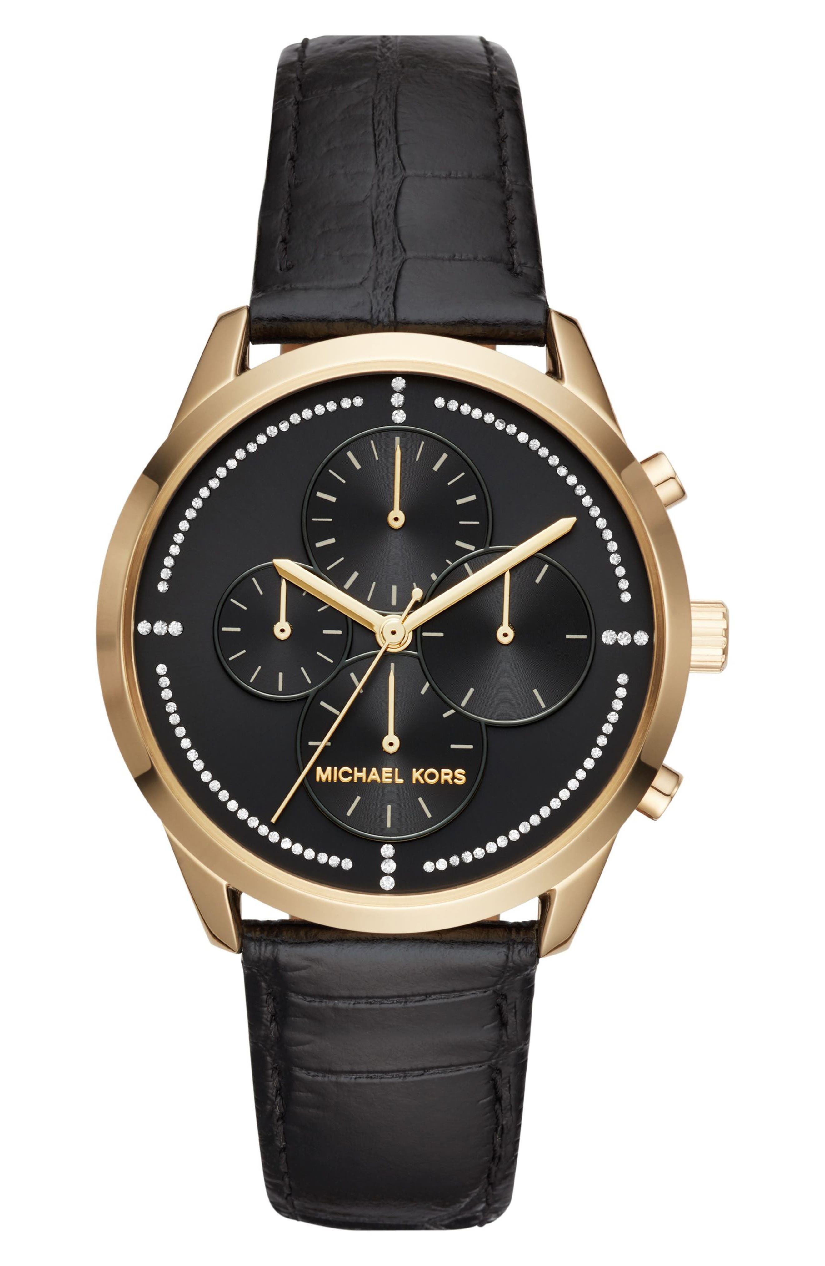 Slater Chronograph Leather Strap Watch, 40mm,                         Main,                         color, Black/ Gold