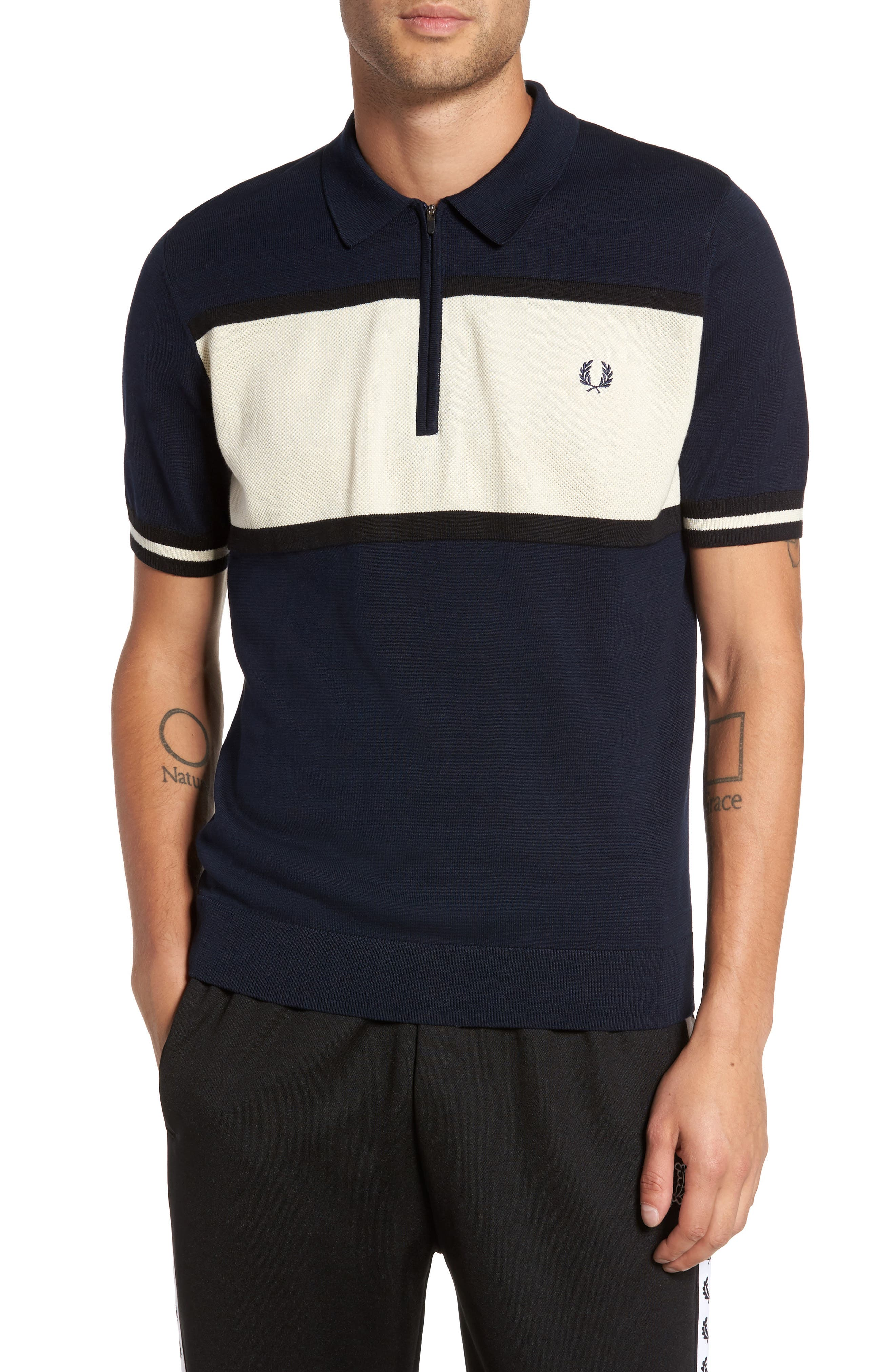 Main Image - Fred Perry Trim Fit Stripe Polo
