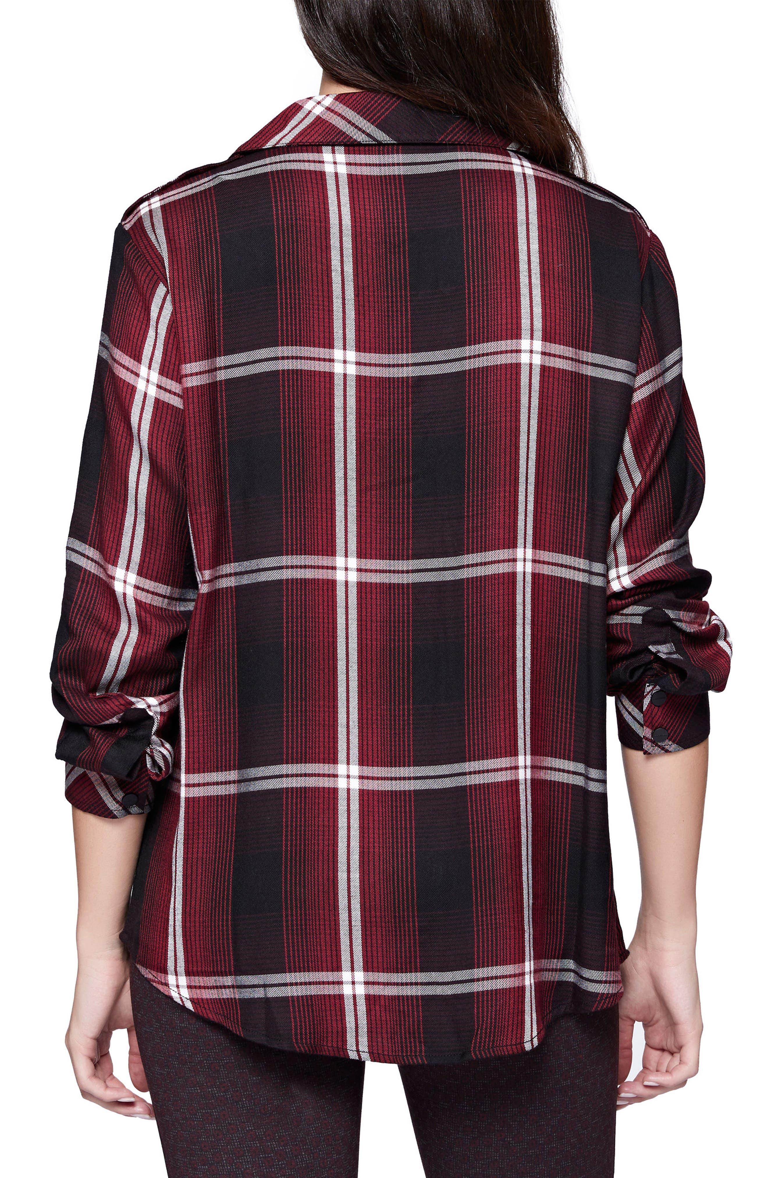 Plaid Boyfriend Shirt,                             Alternate thumbnail 2, color,                             Zinfandel Plaid