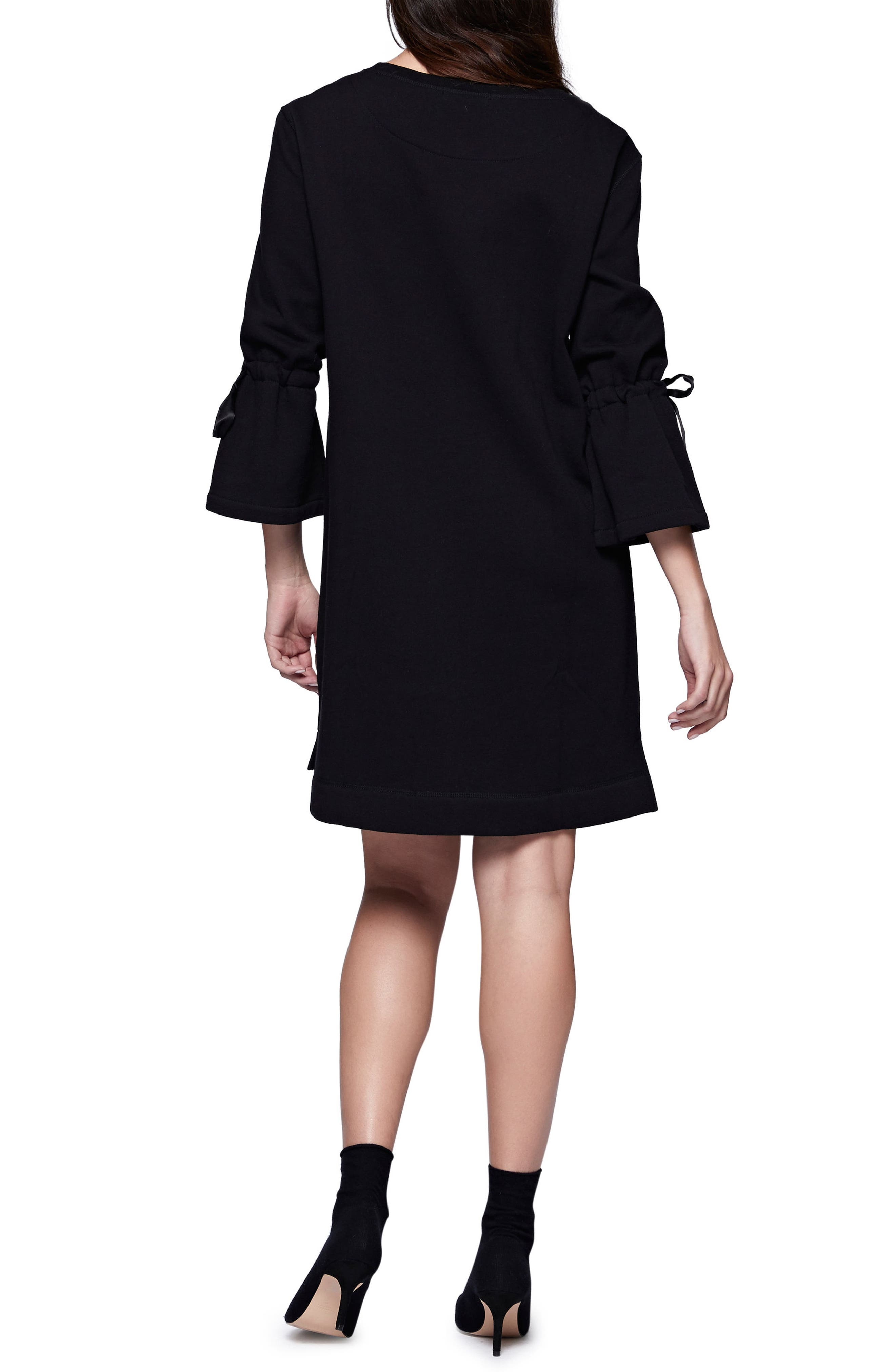 Bell Sleeve Sweatshirt Dress,                             Alternate thumbnail 2, color,                             Black