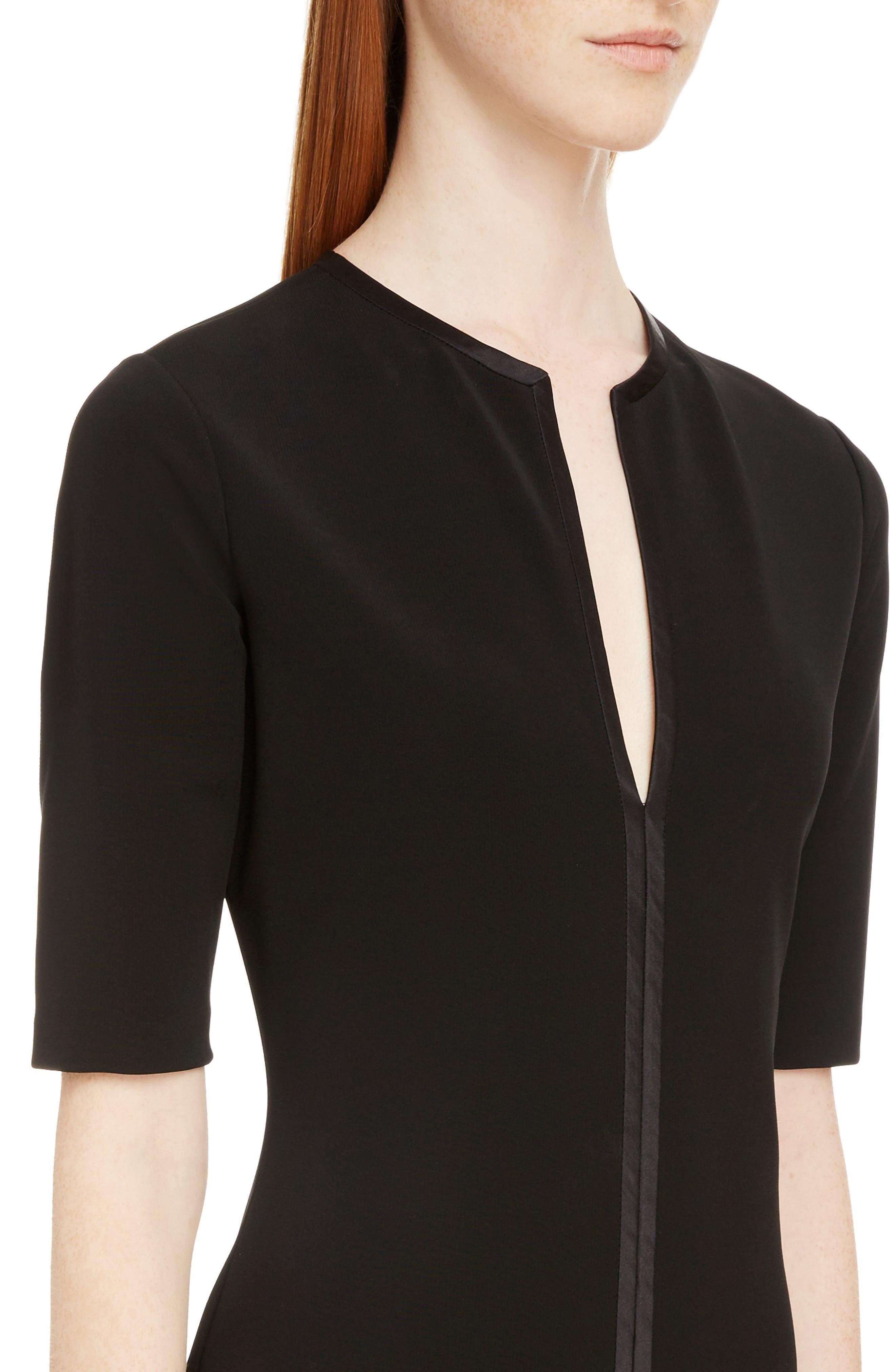 Split Neck Punto Milano Dress,                             Alternate thumbnail 4, color,                             Black