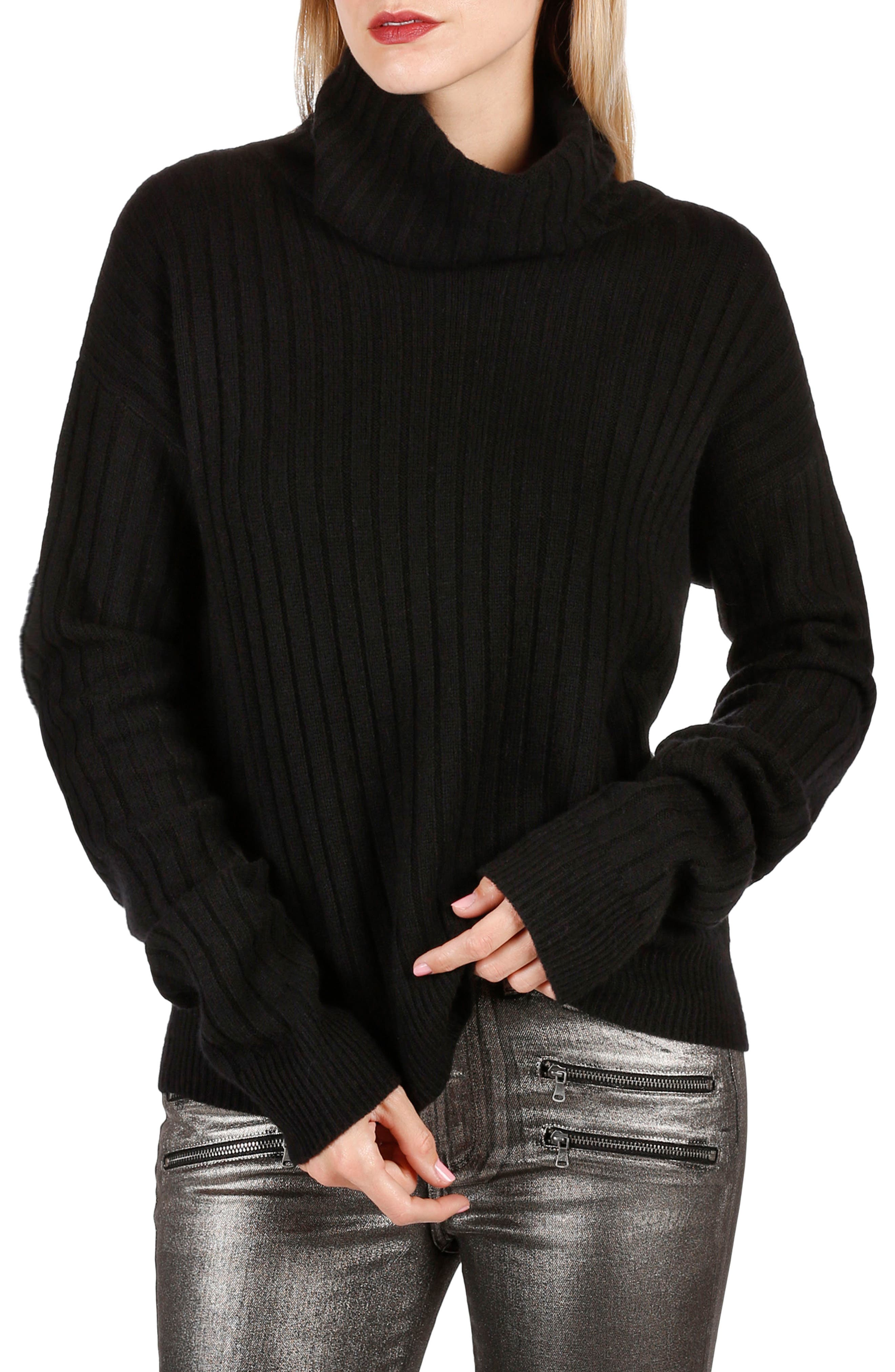 Rosie HW x PAIGE Mina Turtleneck Sweater,                         Main,                         color, Black