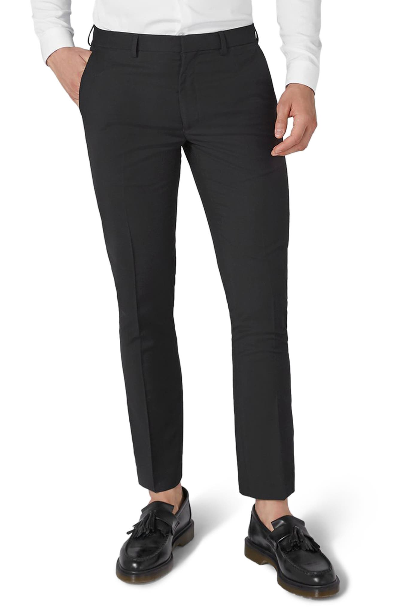 Black Skinny Fit Trousers,                         Main,                         color, Black