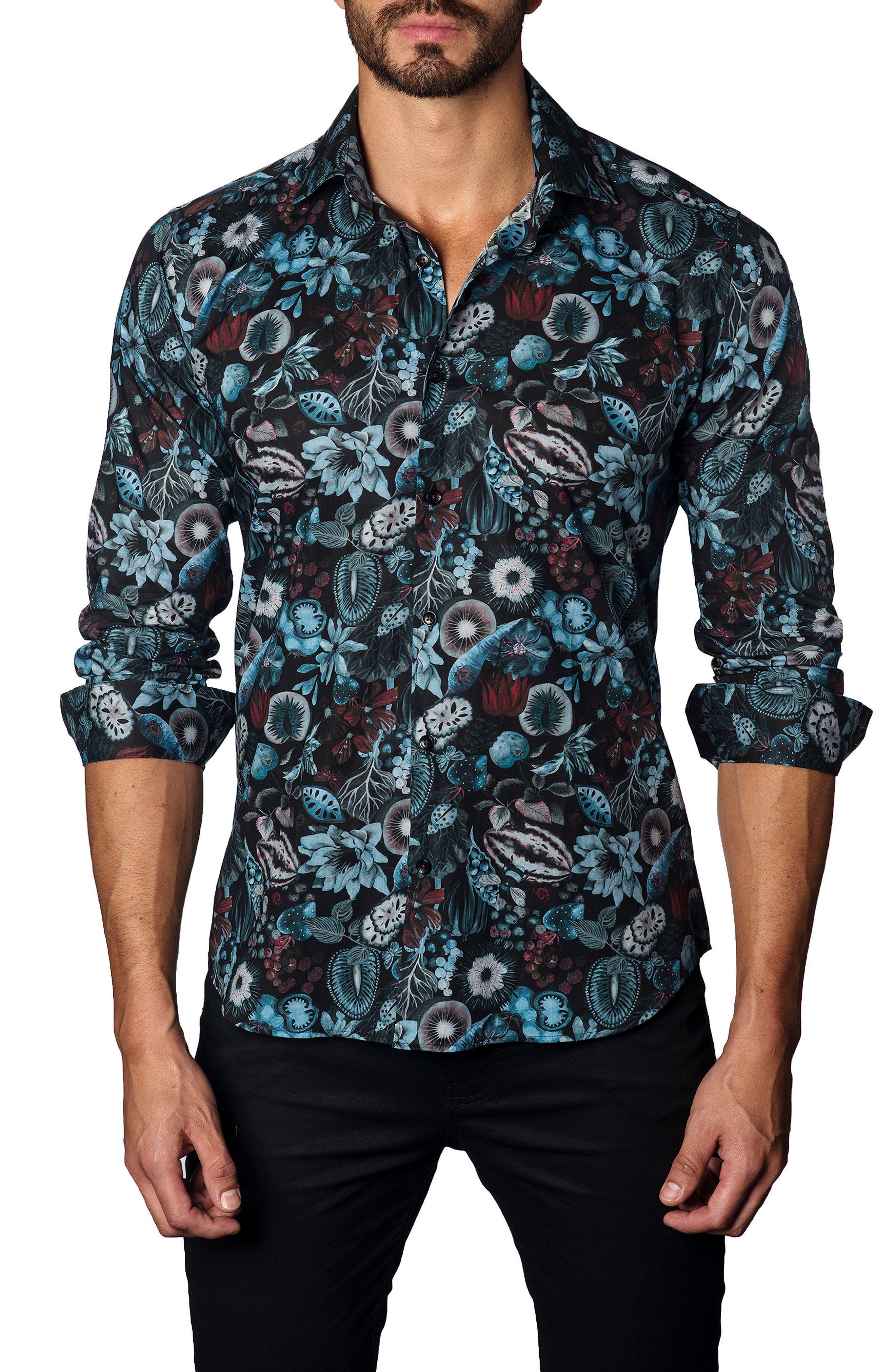 Alternate Image 1 Selected - Jared Lang Trim Fit Black Garden Print Sport Shirt