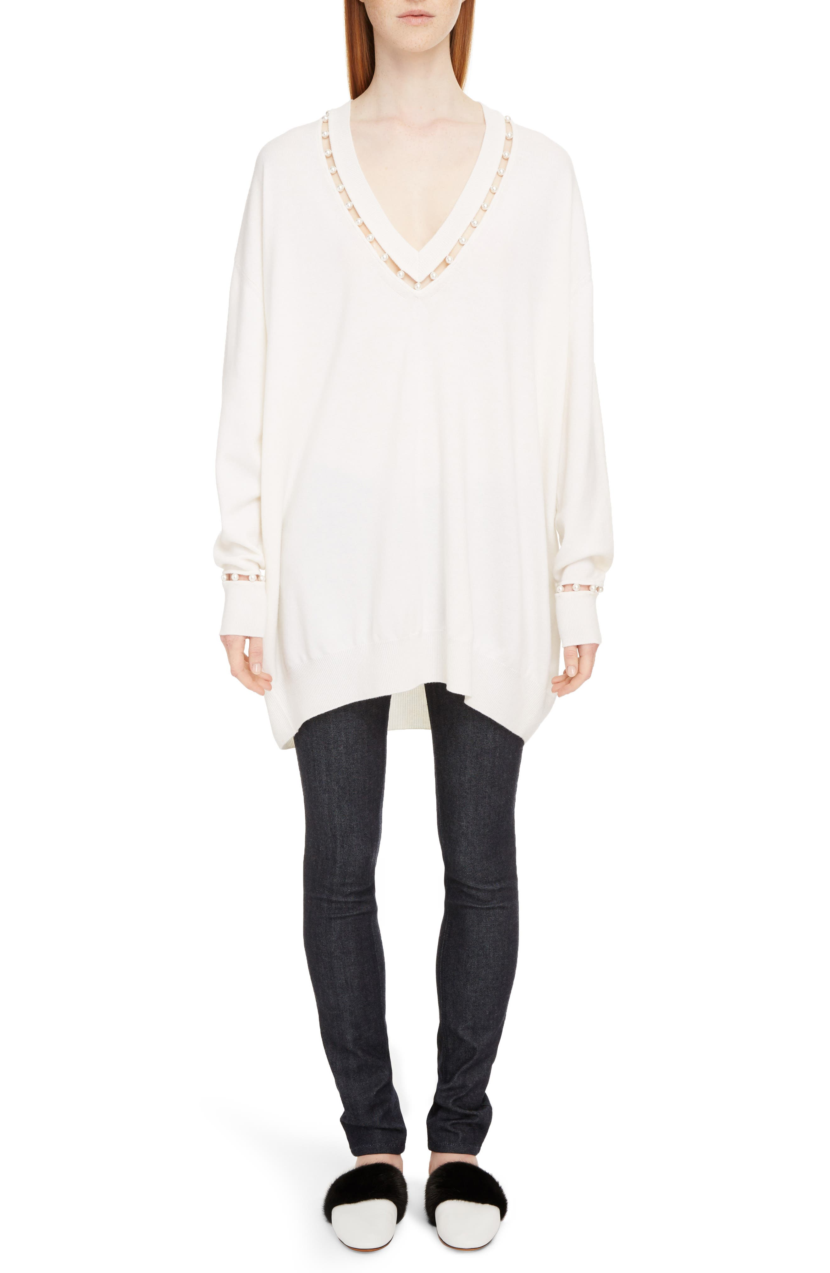 Imitation Pearl Embellished Cashmere & Wool Sweater,                             Alternate thumbnail 6, color,                             Off White