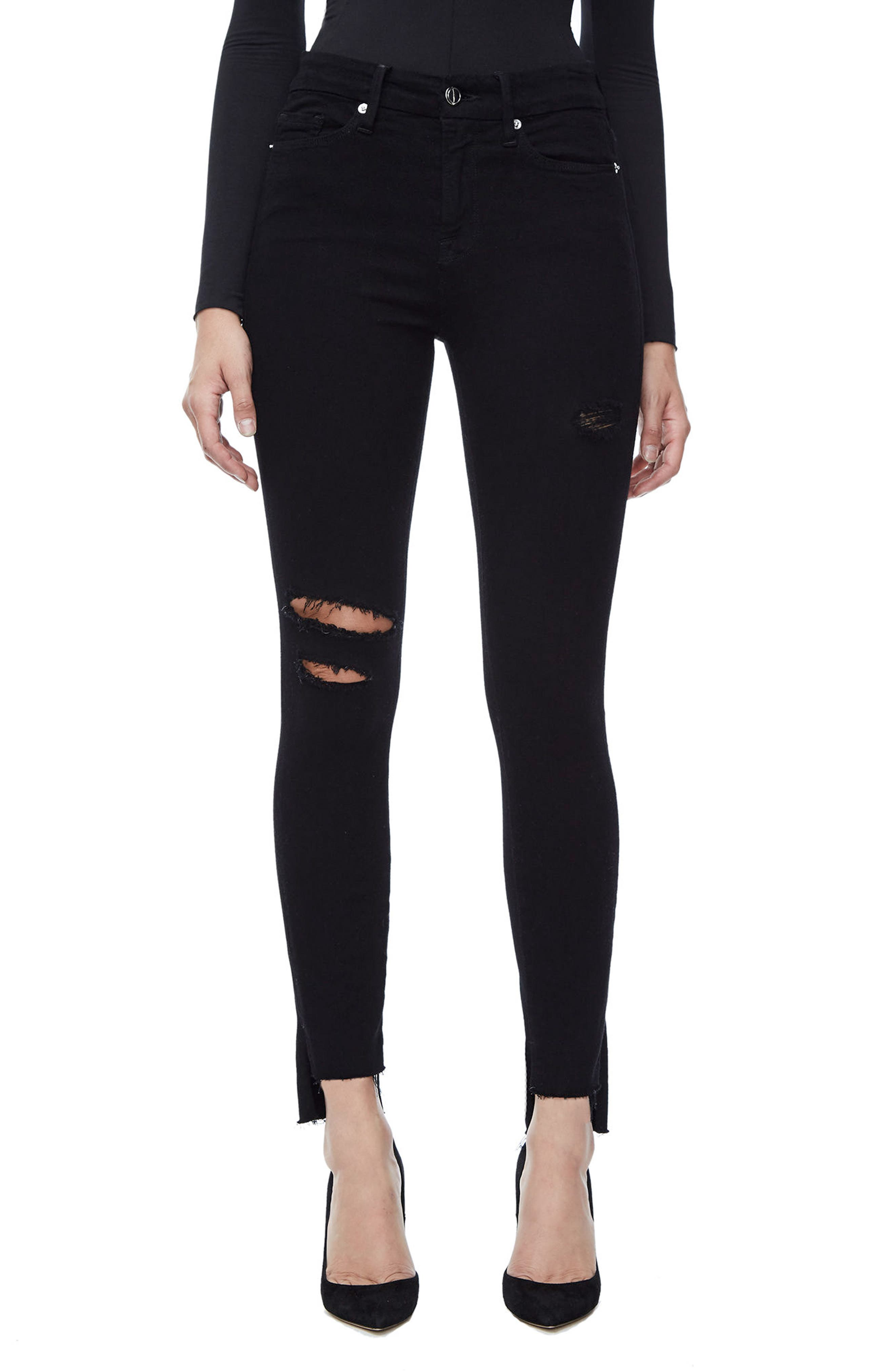 Good American Good Legs High Waist Skinny Jeans (Black 001) (Extended Sizes)