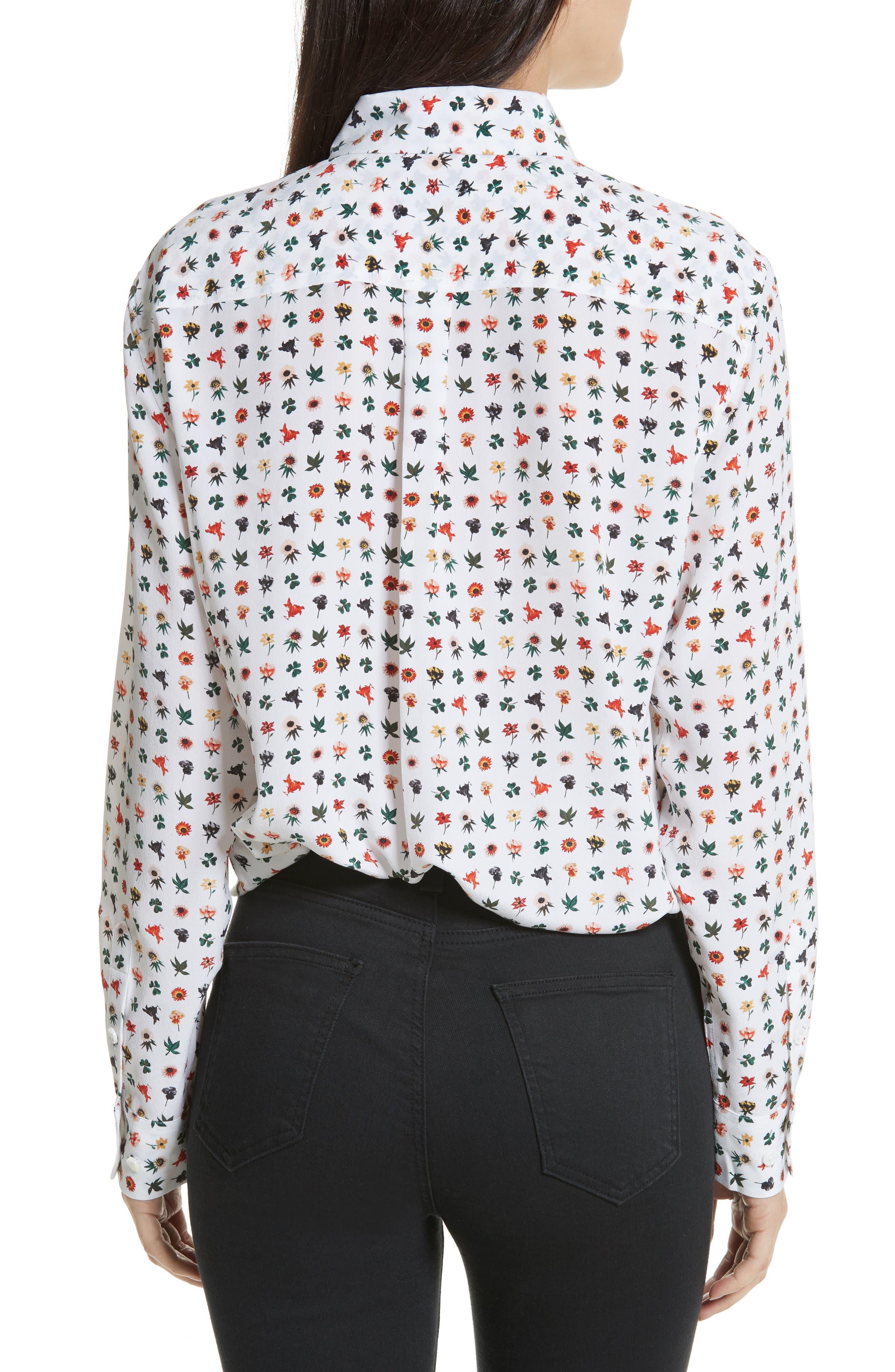 Signature Print Silk Shirt,                             Alternate thumbnail 2, color,                             Bright White Multi