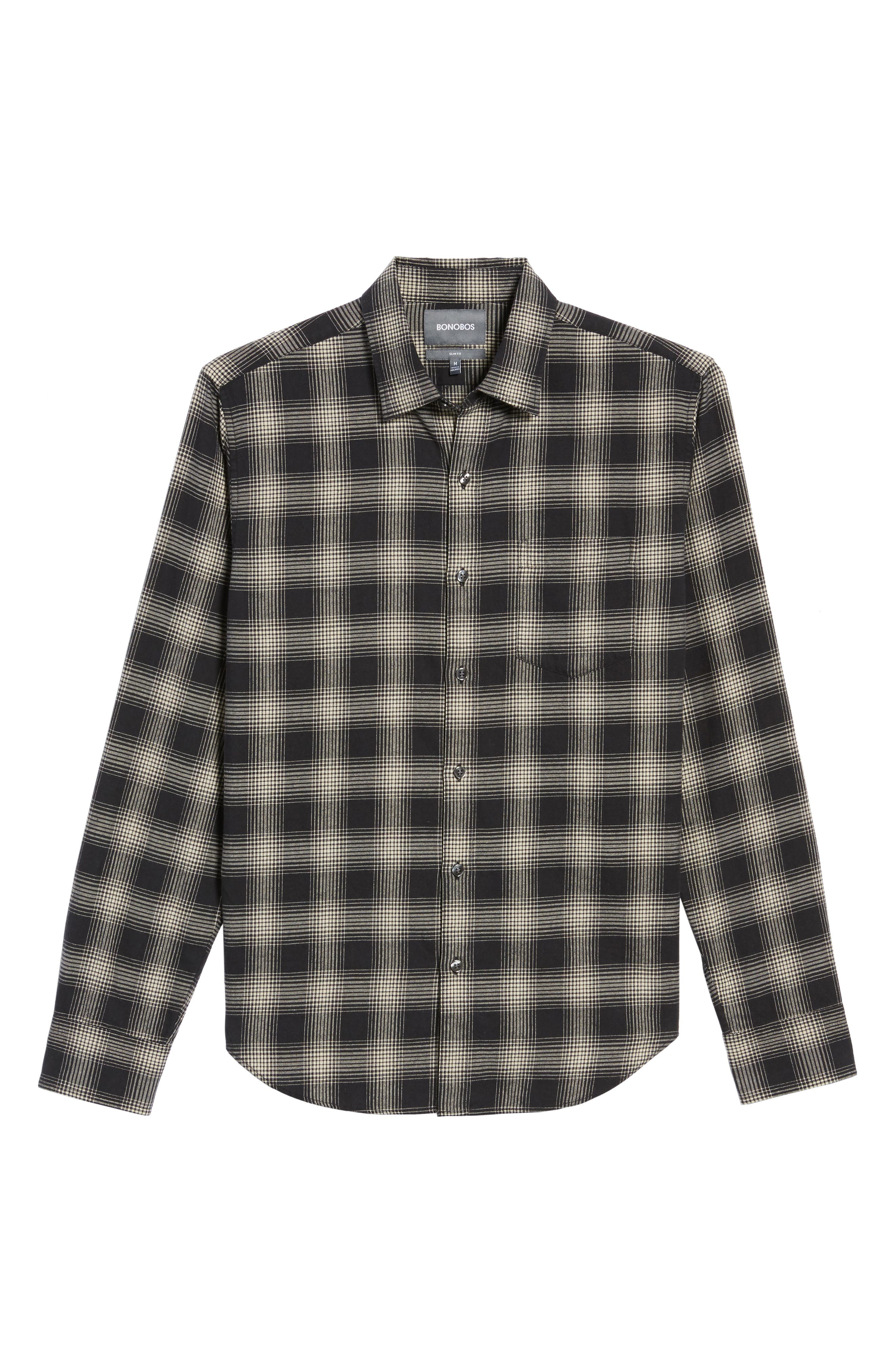 Slim Fit Plaid Brushed Twill Sport Shirt,                             Alternate thumbnail 6, color,                             Black/ Brown Plaid