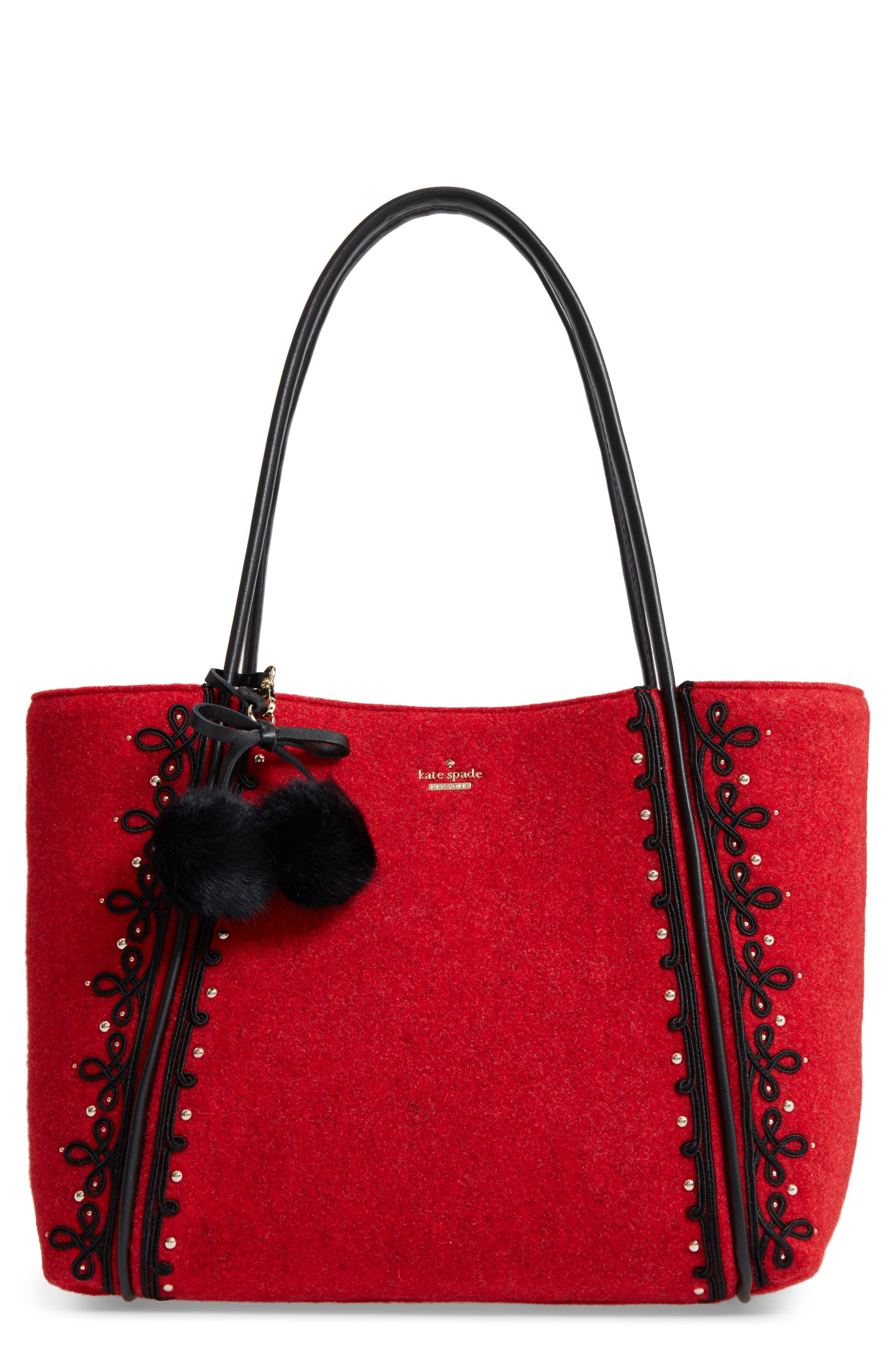 byrne street - ronan wool tote,                             Main thumbnail 1, color,                             Red Carpet