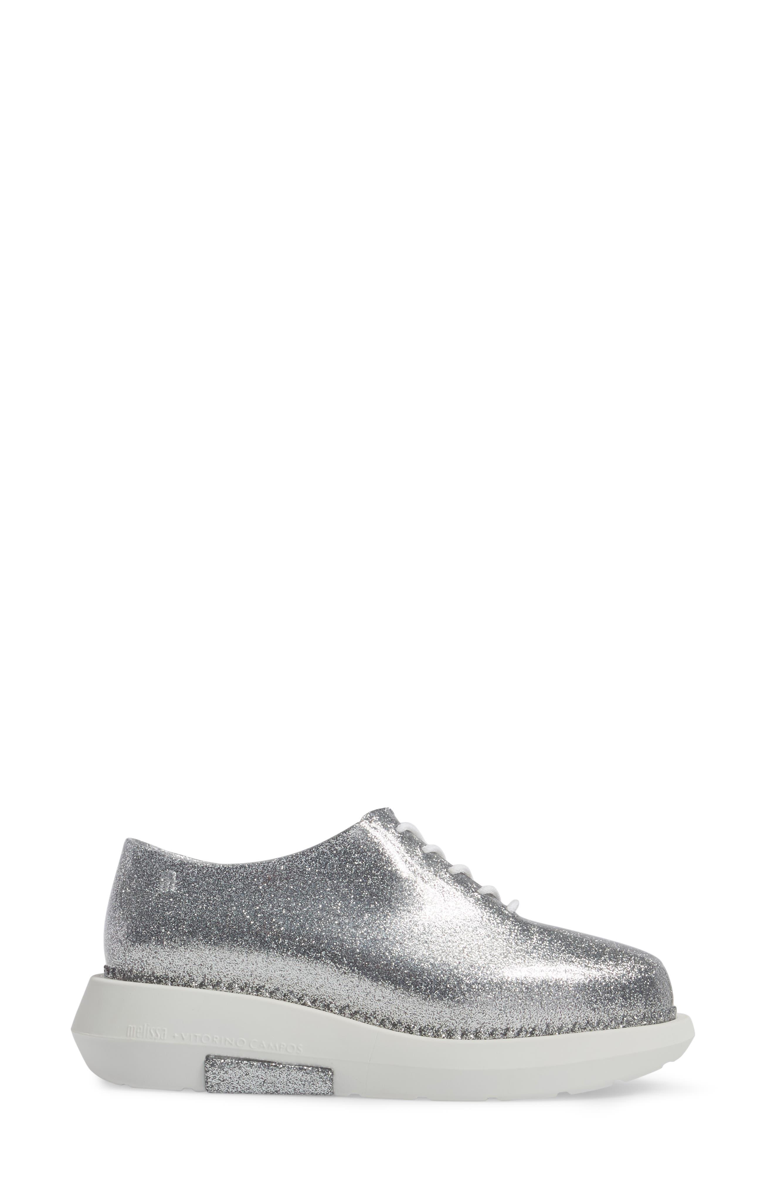 Grunge Vitorino Water Resistant Oxford,                             Alternate thumbnail 3, color,                             Silver Glitter White