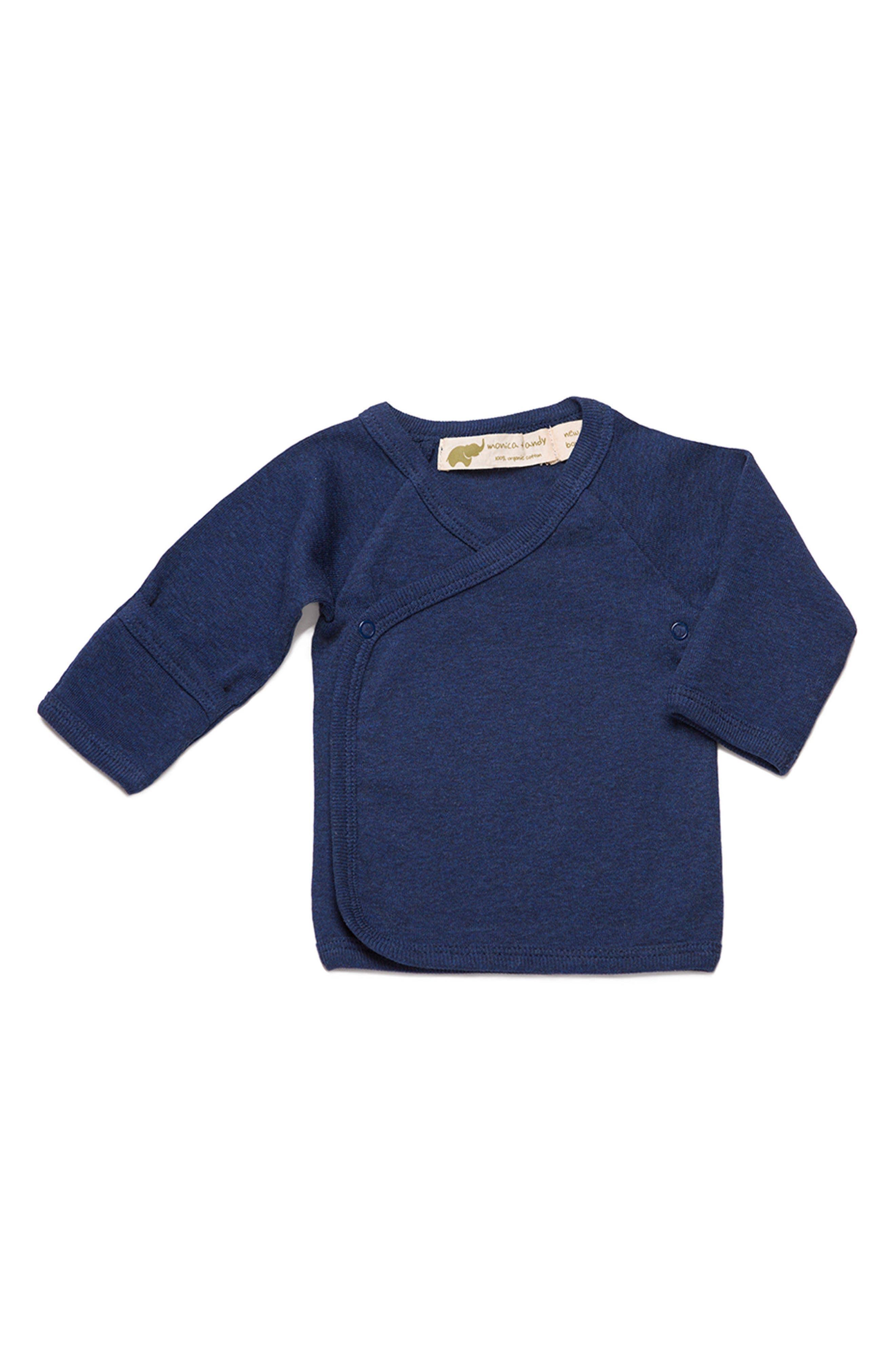 Hello Baby Organic Cotton Top,                             Main thumbnail 1, color,                             Navy Blue  Heather