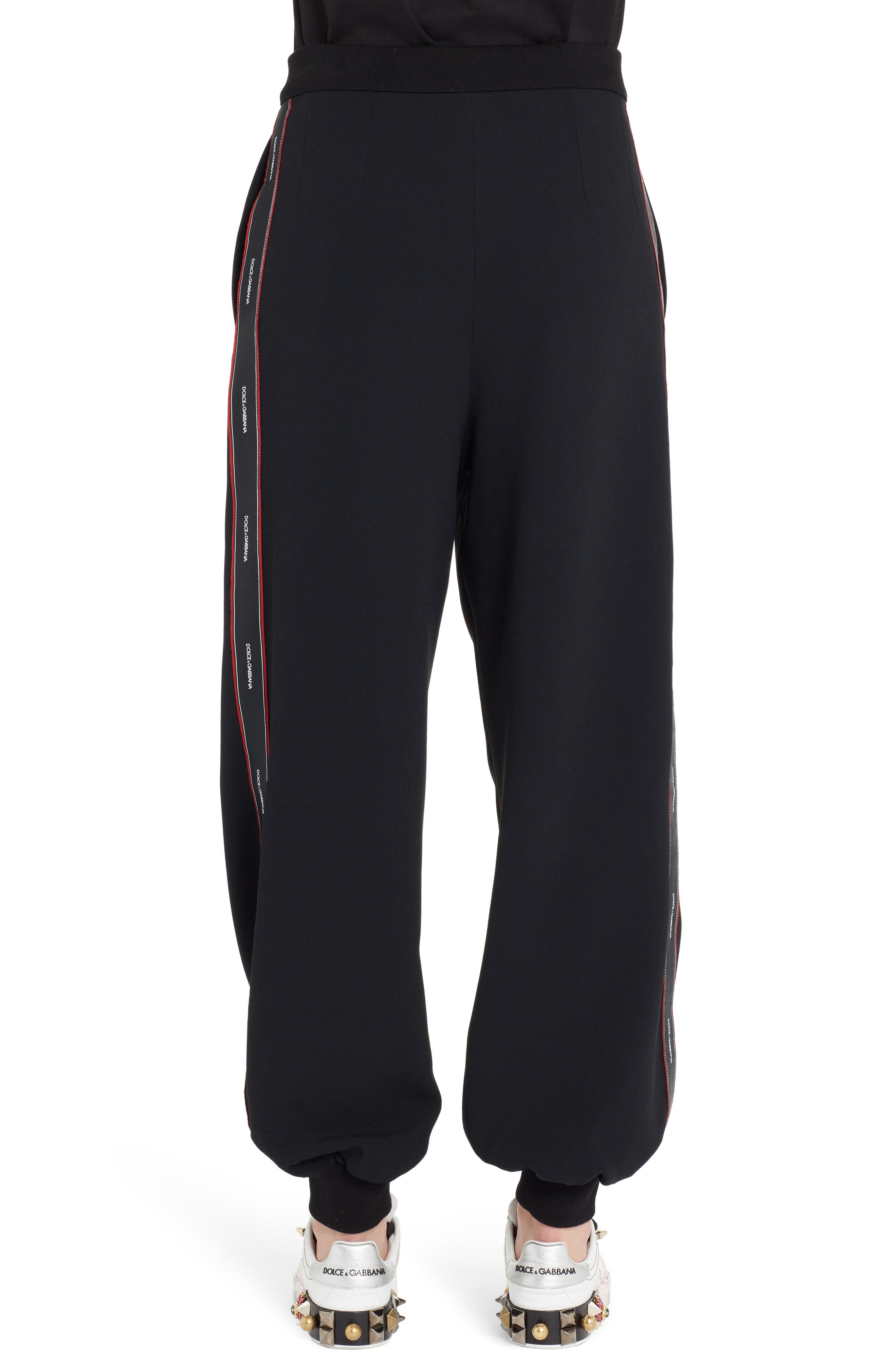 Logo Stripe Cady Joggers,                             Alternate thumbnail 2, color,                             Black