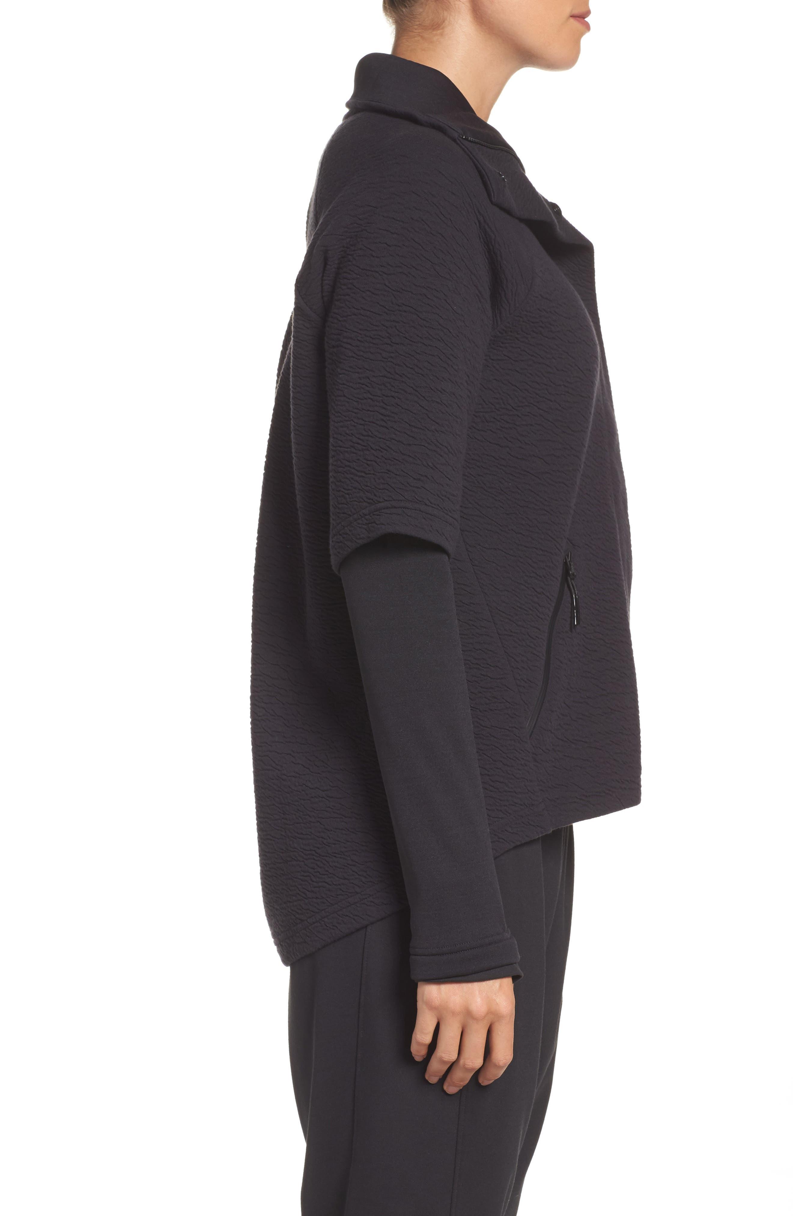 Heat Knit Drape Jacket,                             Alternate thumbnail 3, color,                             Bk