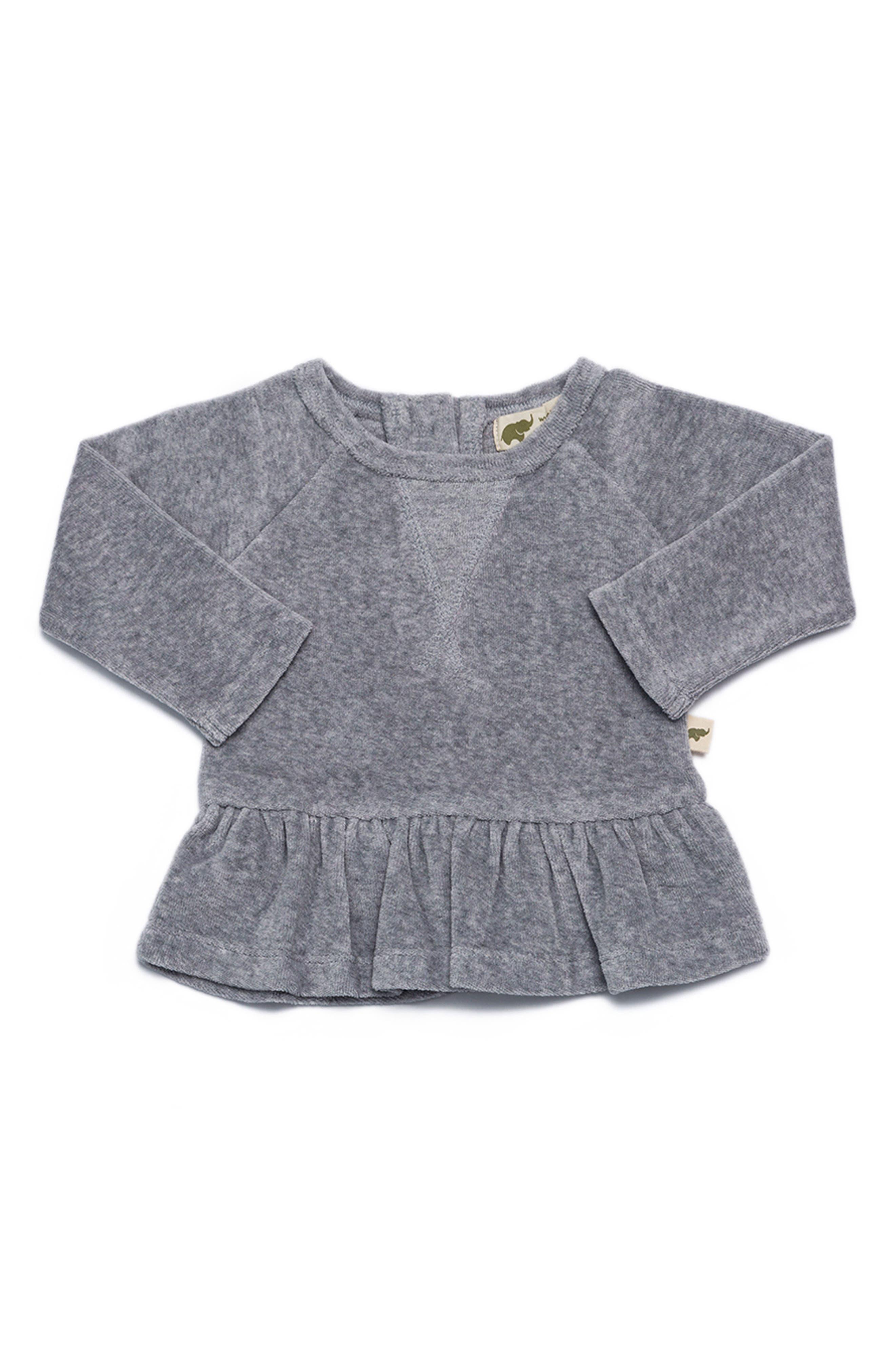 Monica + Andy Peplum Organic Cotton Sweatshirt (Baby Girls)