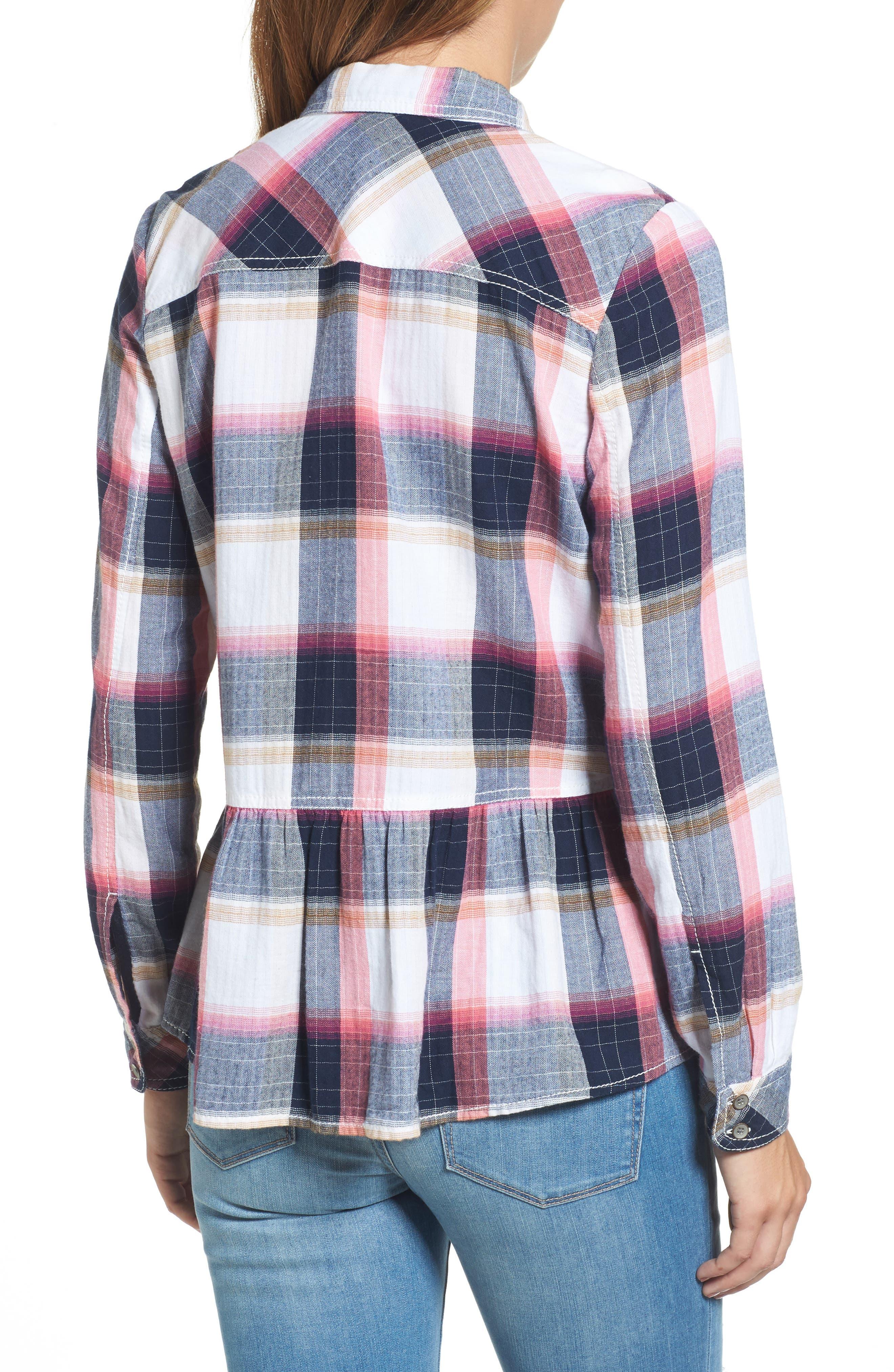 Peplum Plaid Shirt,                             Alternate thumbnail 2, color,                             Navy- Rose Plaid