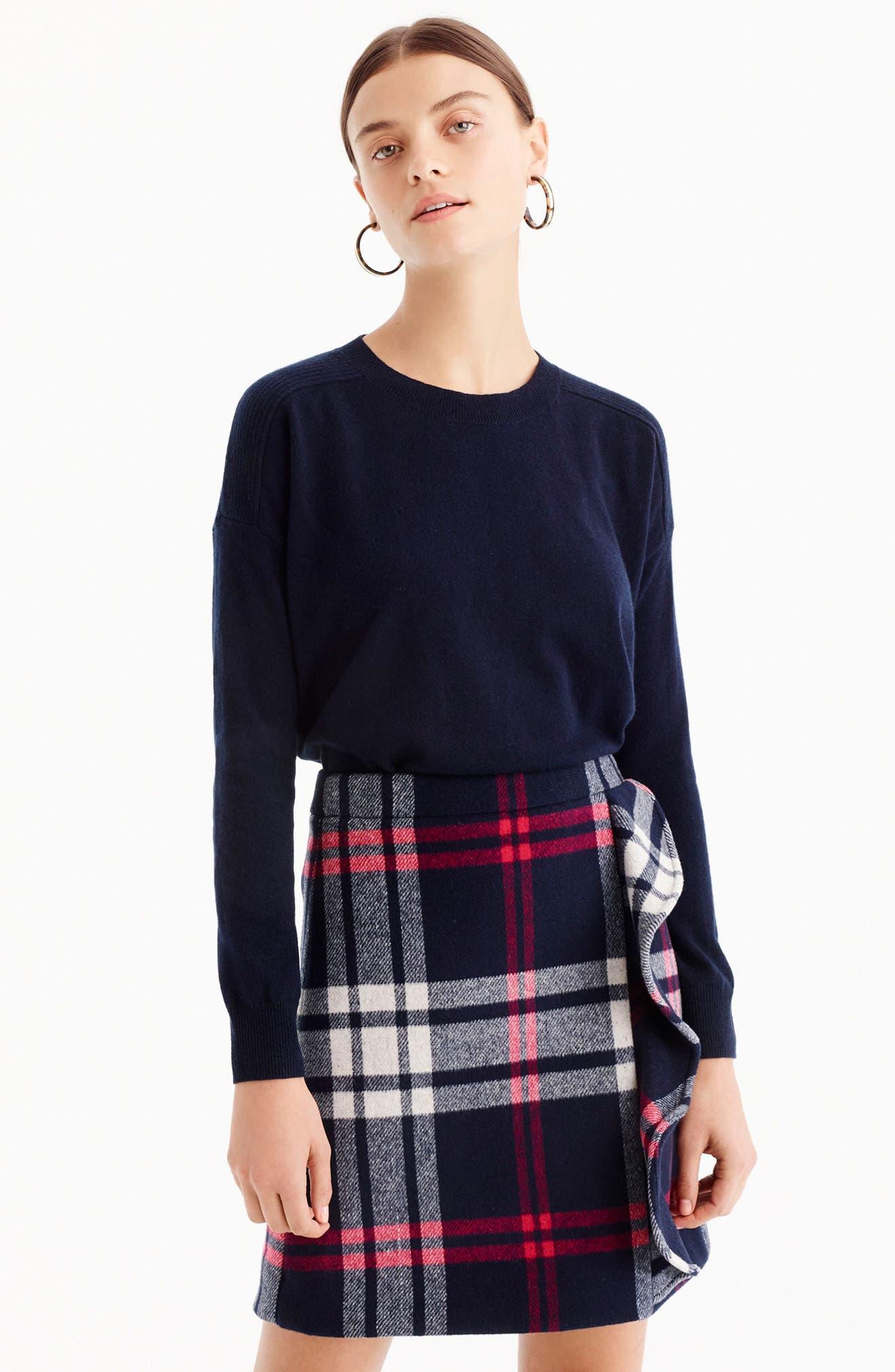 Plaid Ruffle Double-Serge Wool Mini Skirt,                             Alternate thumbnail 2, color,                             Red Navy White