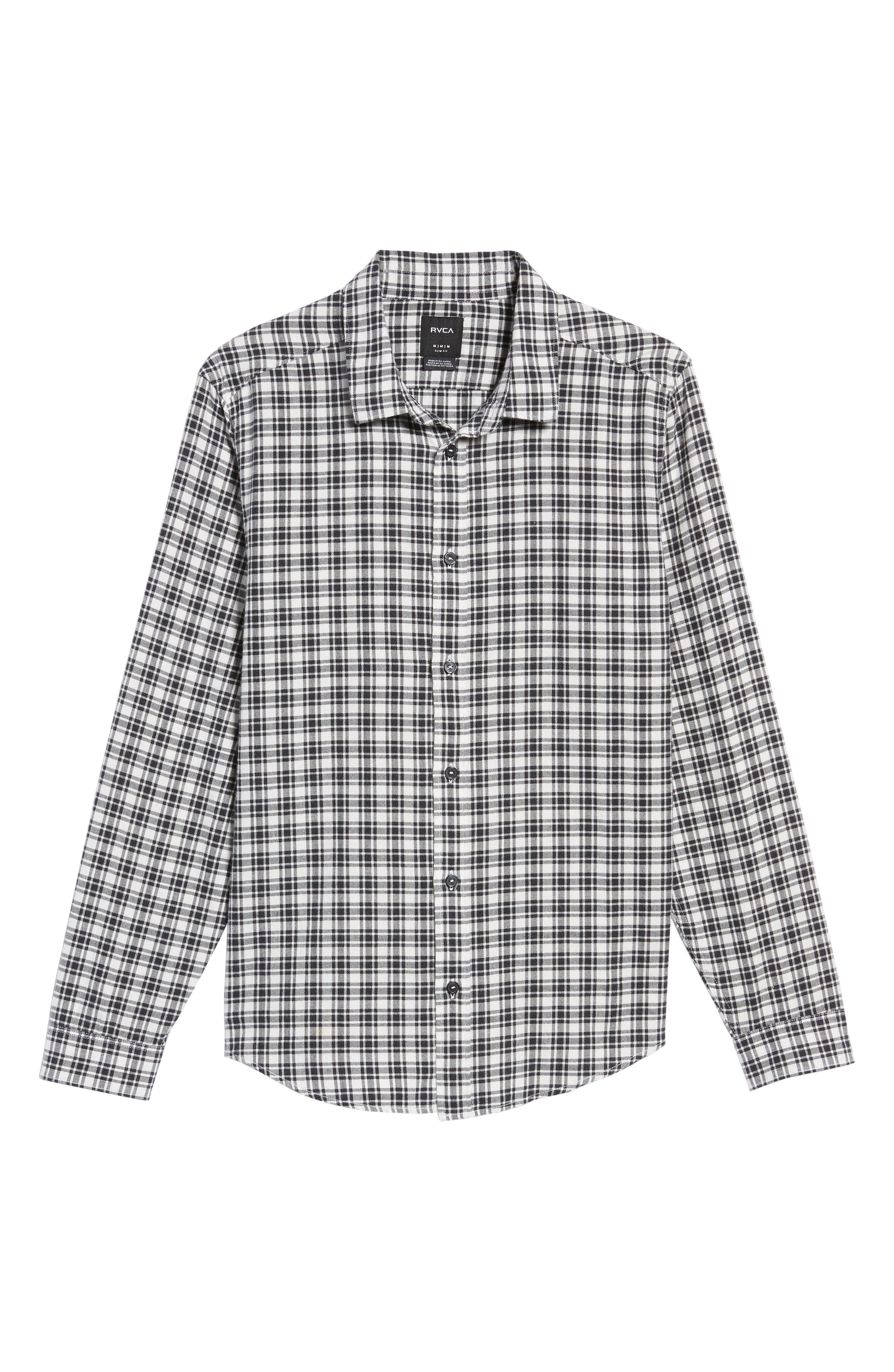 Alternate Image 6  - RVCA Hayes Plaid Flannel Sport Shirt