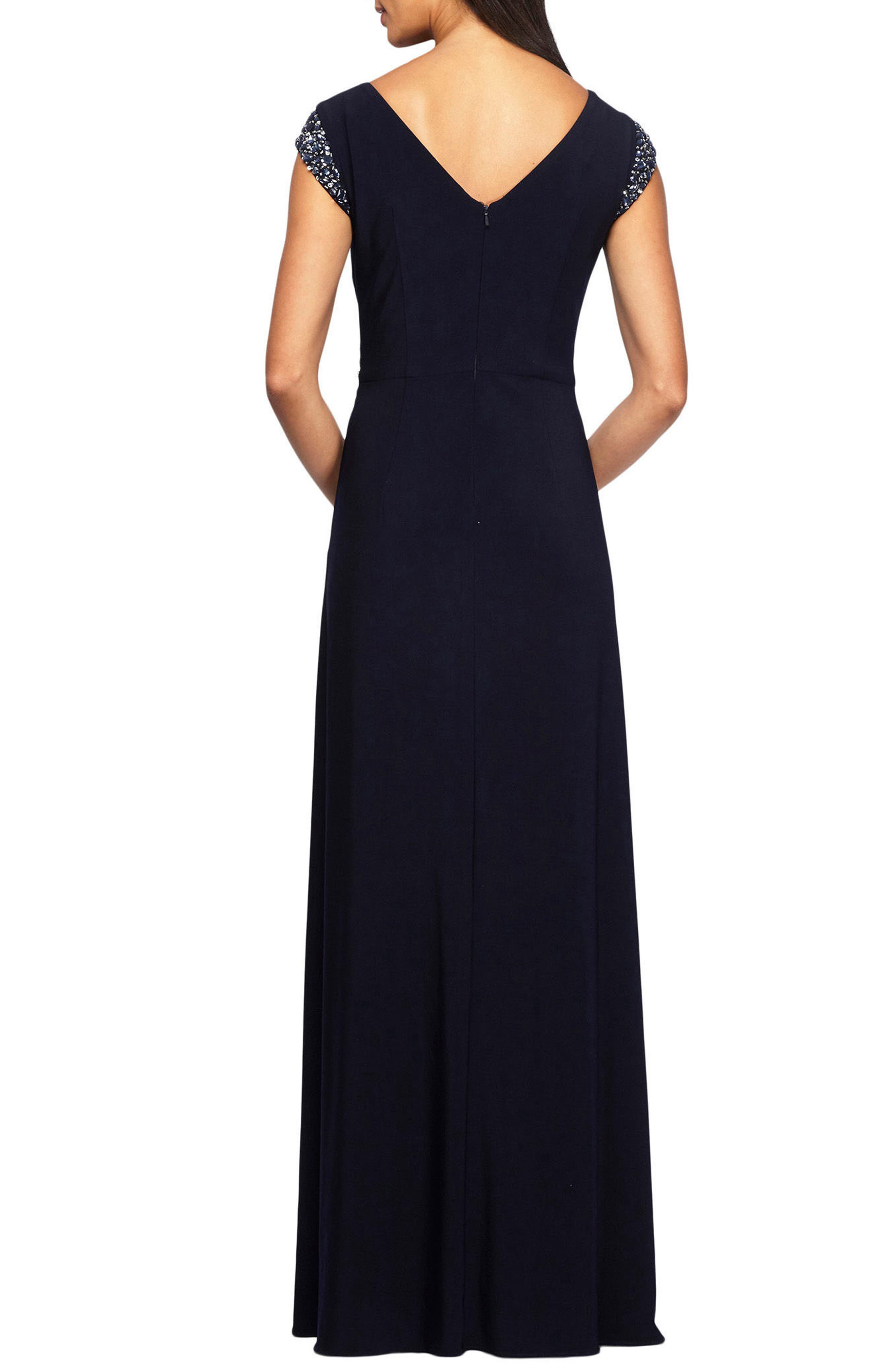Alternate Image 2  - Alex Evenings Embellished Cap Sleeve A-Line Gown