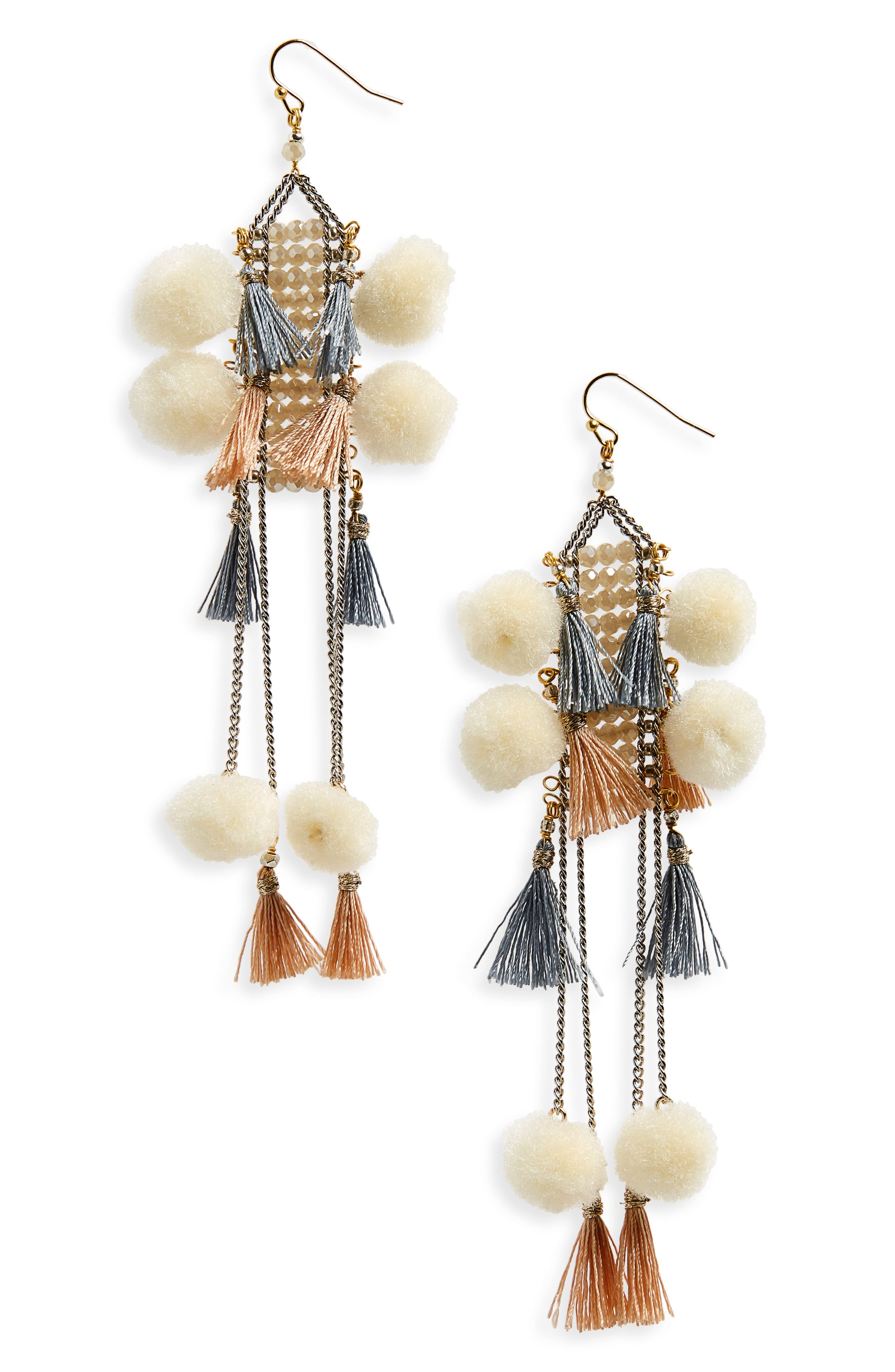 Nakamol Design Pom & Tassel Crystal Ladder Earrings
