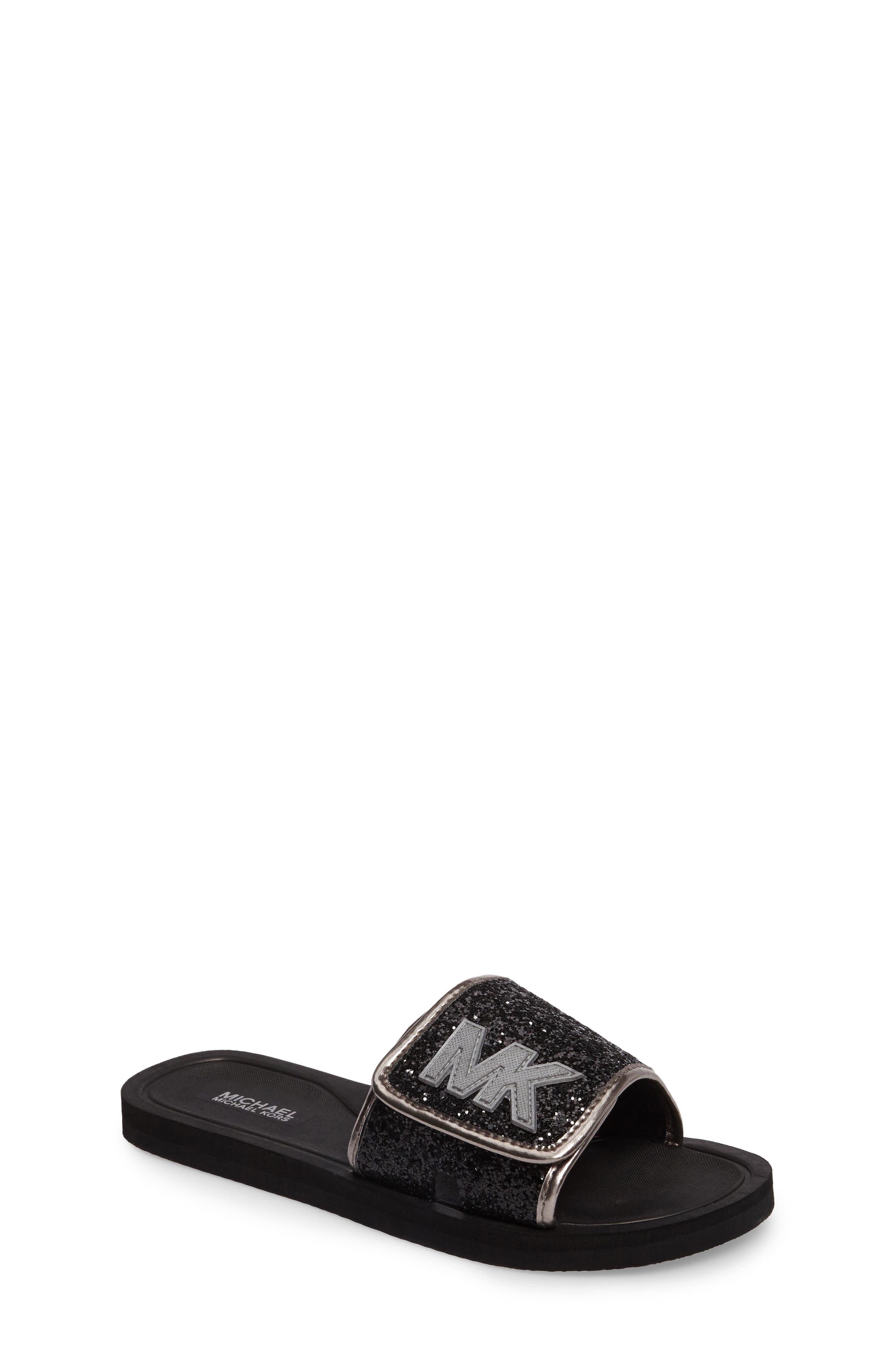 Main Image - MICHAEL Michael Kors Eli Glow Glitter Slide Sandal (Toddler, Little Kid & Big Kid)