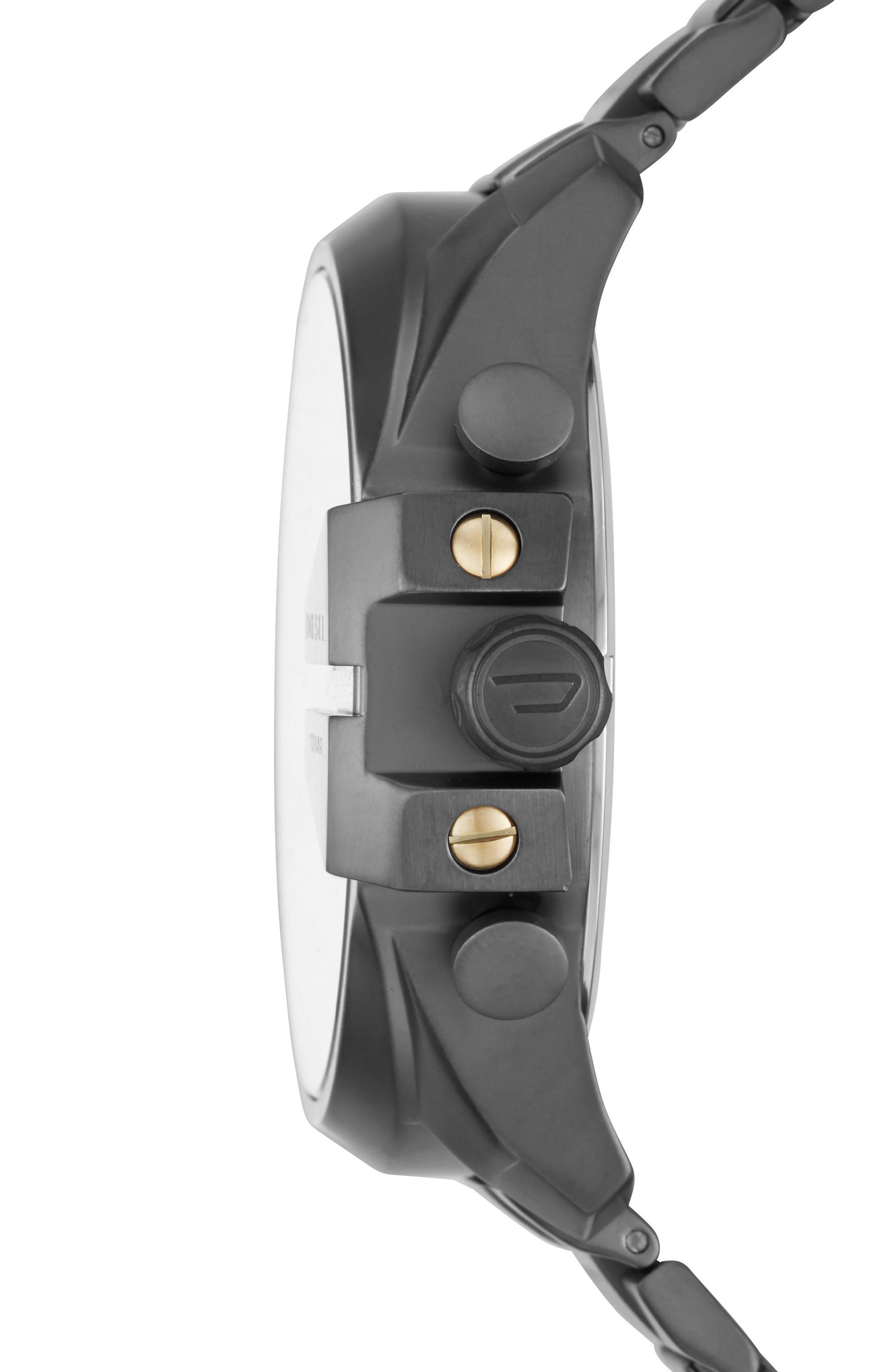 DIESEL Mega Chief Chronograph Bracelet Watch, 51mm x 59mm,                             Alternate thumbnail 2, color,                             Ip/ Gunmetal