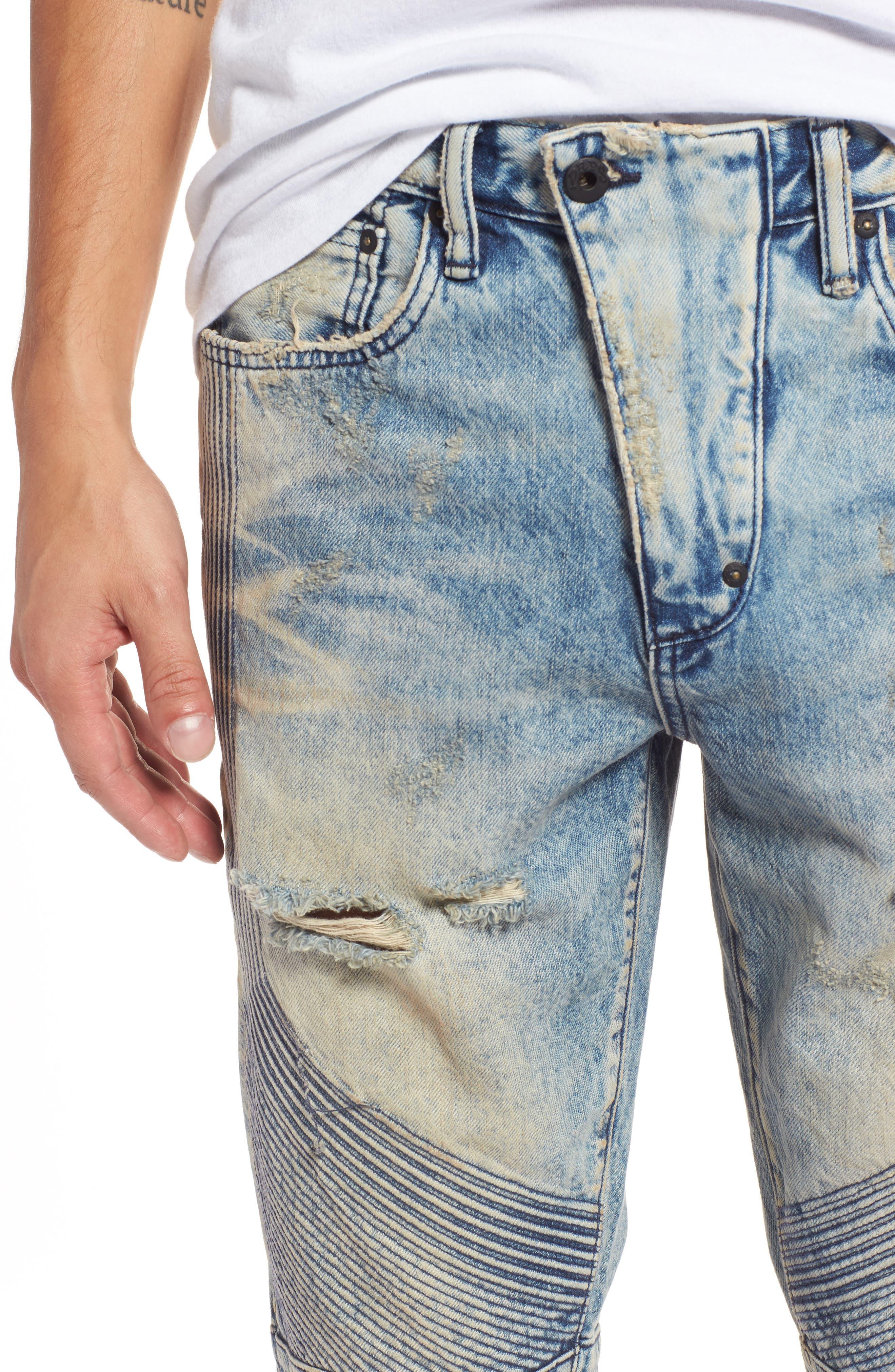 Le Sabre Slim Fit Moto Jeans,                             Alternate thumbnail 4, color,                             Harvested Light Wash