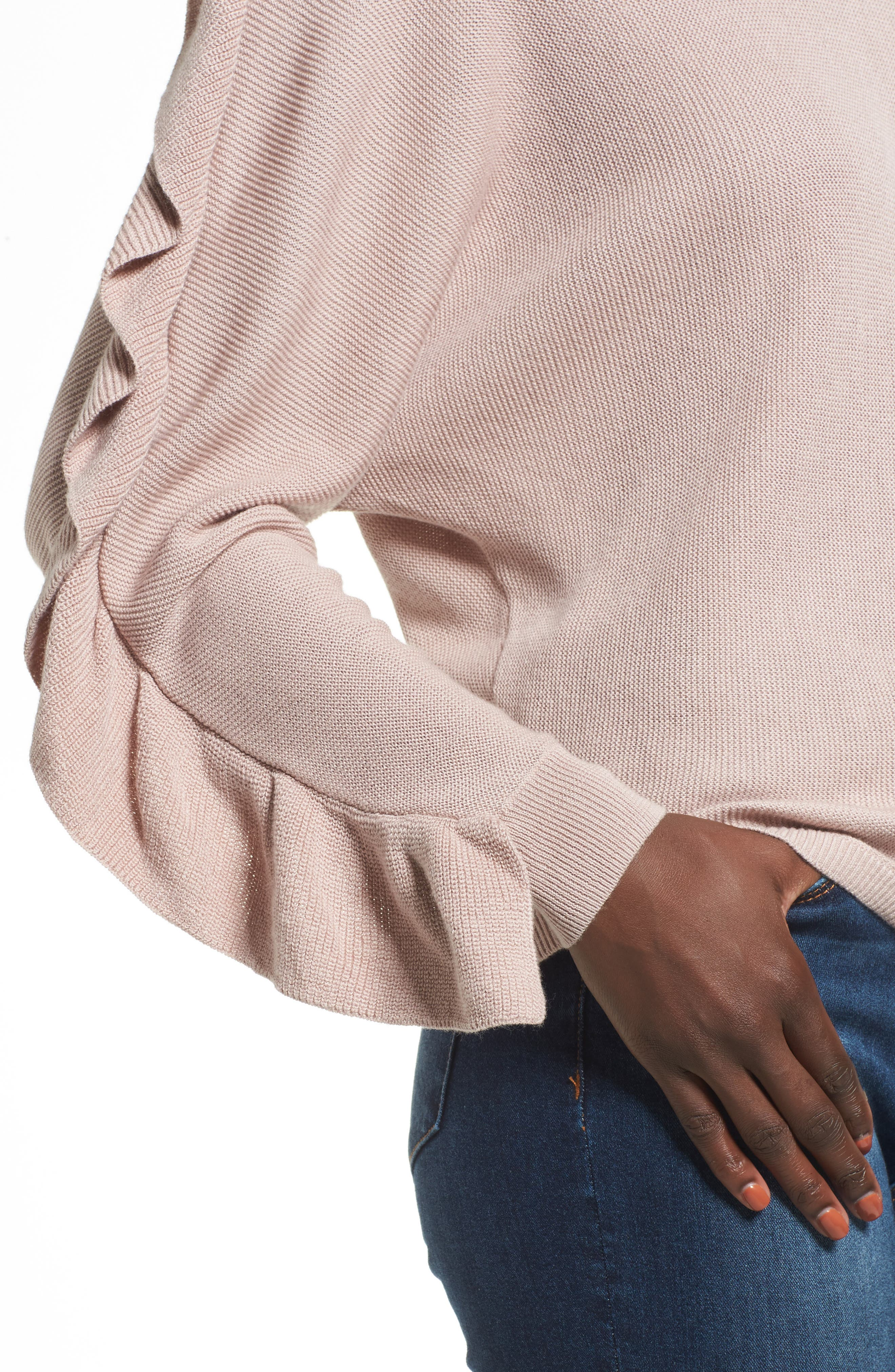 Ruffle Sleeve Sweater,                             Alternate thumbnail 4, color,                             Pink Adobe