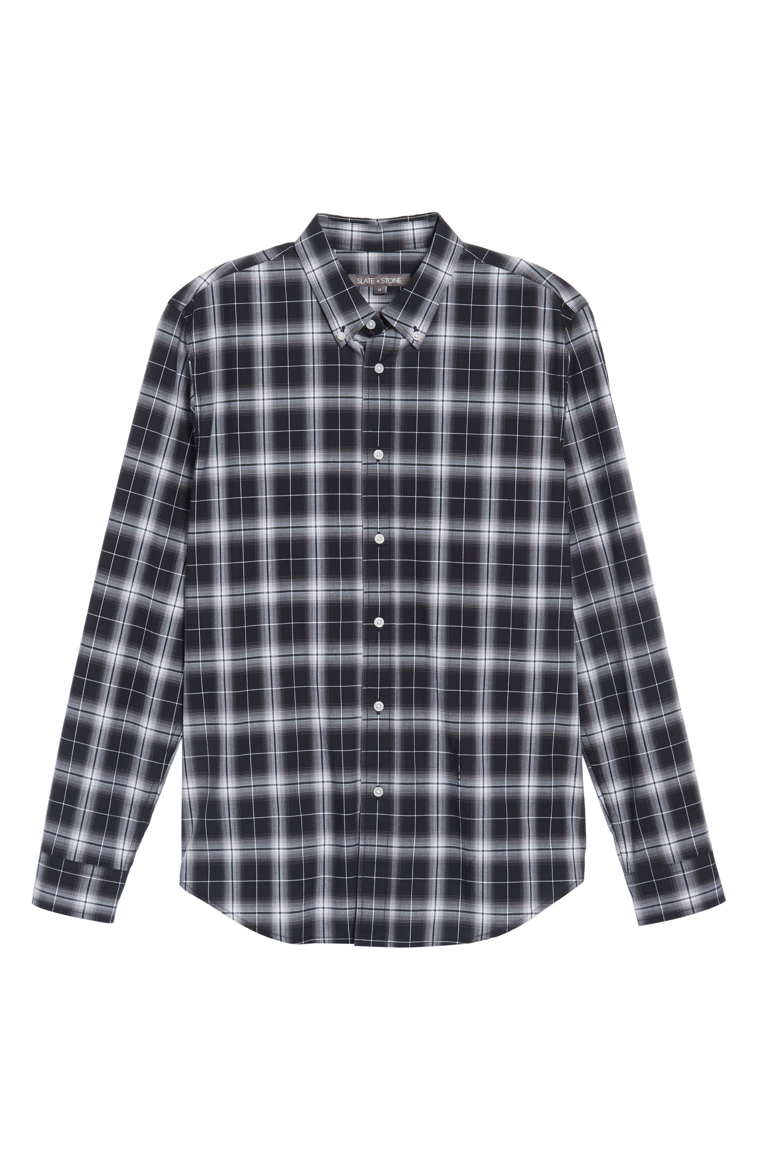 Alternate Image 6  - Slate & Stone Trim Fit Ombré Plaid Sport Shirt