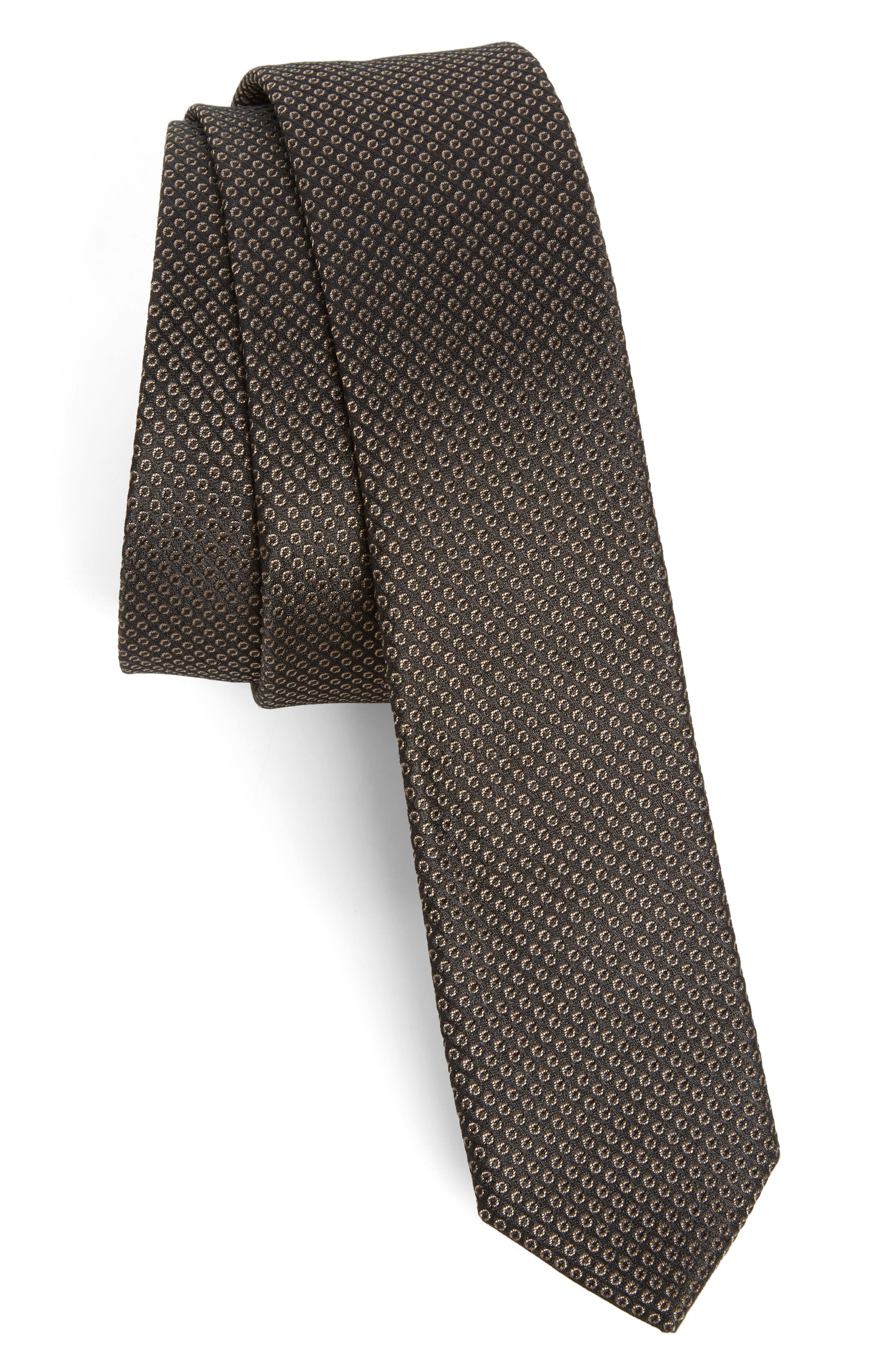 Dot Pattern Silk Skinny Tie,                             Main thumbnail 1, color,                             Brown