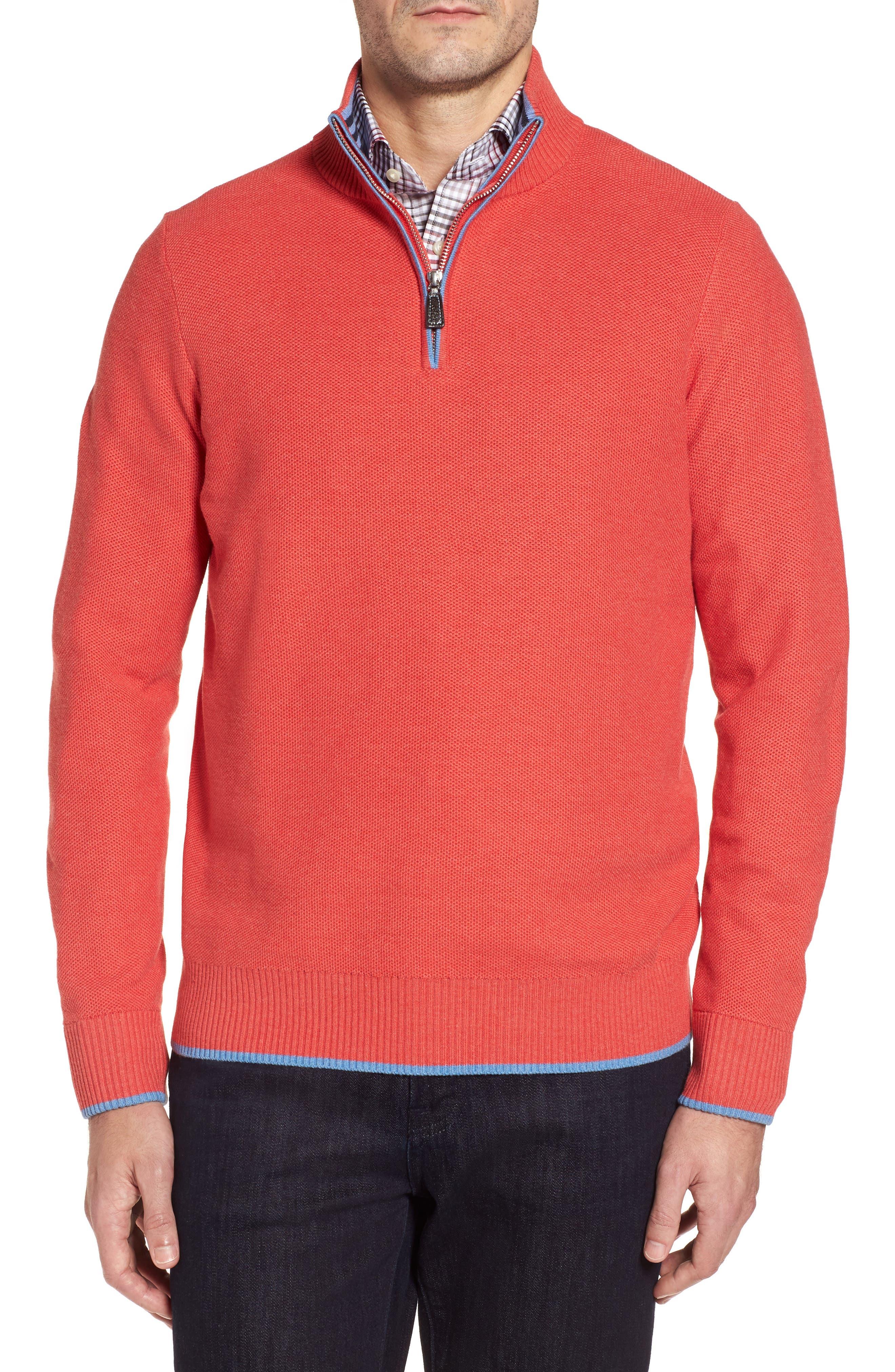 Sorrel Tipped Quarter Zip Sweater,                             Main thumbnail 1, color,                             Coral