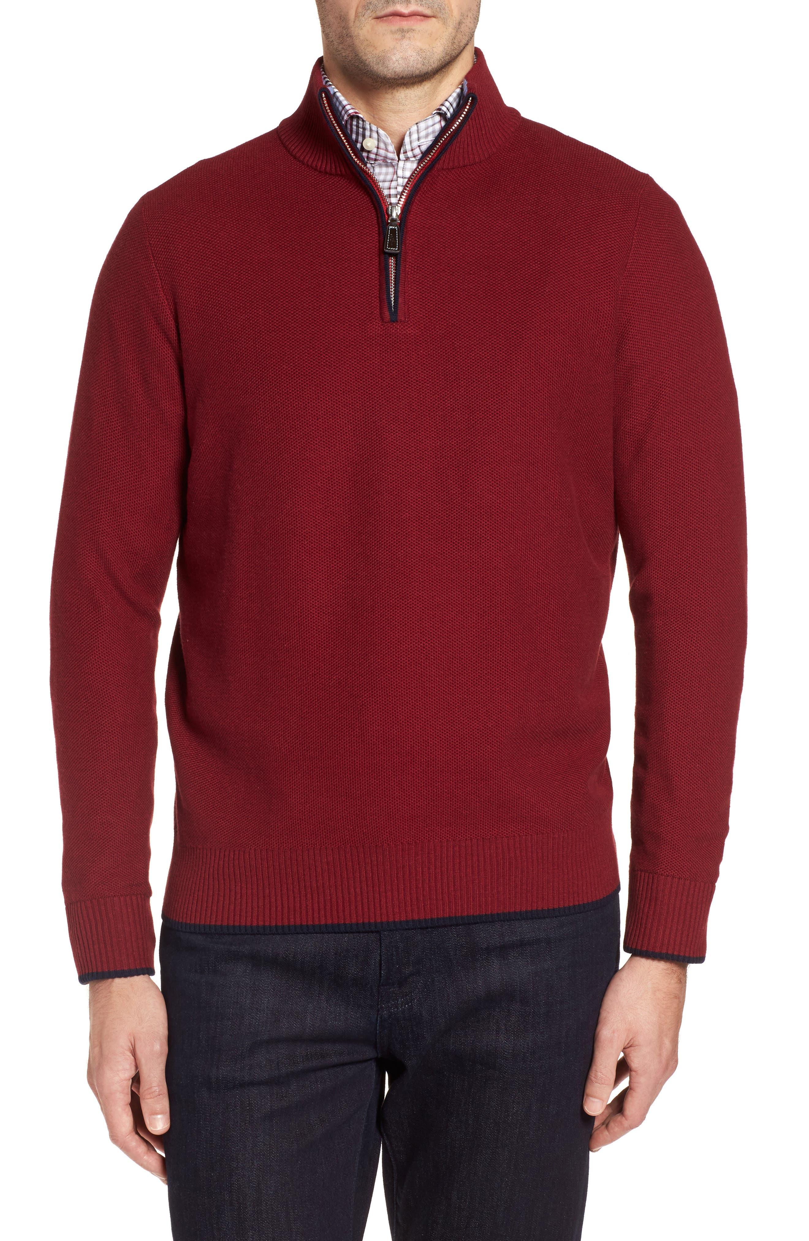 Prien Tipped Quarter Zip Sweater,                         Main,                         color, Wine