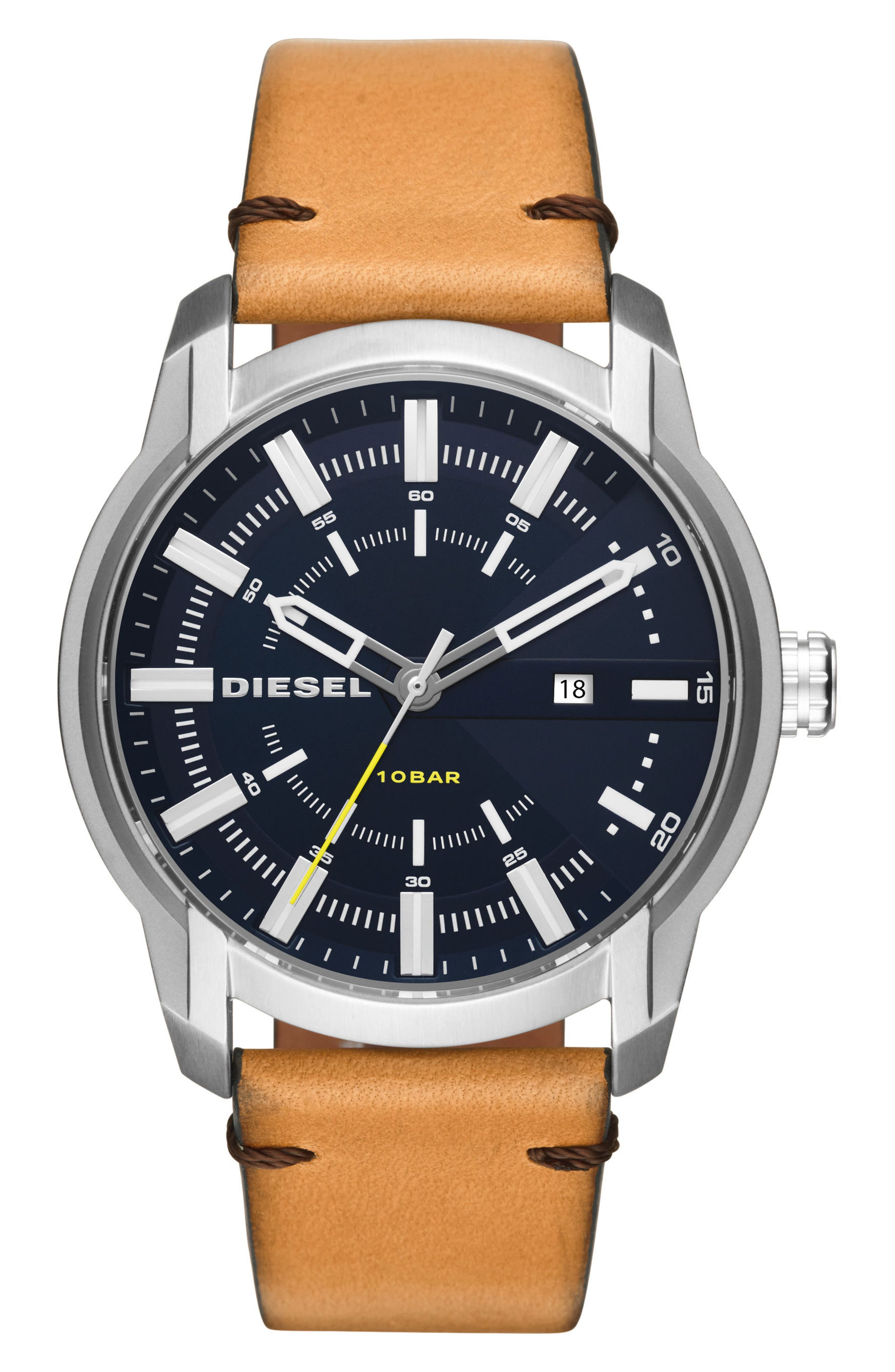 Armbar Leather Strap Watch, 45mm x 50mm,                         Main,                         color, Stainless Steel