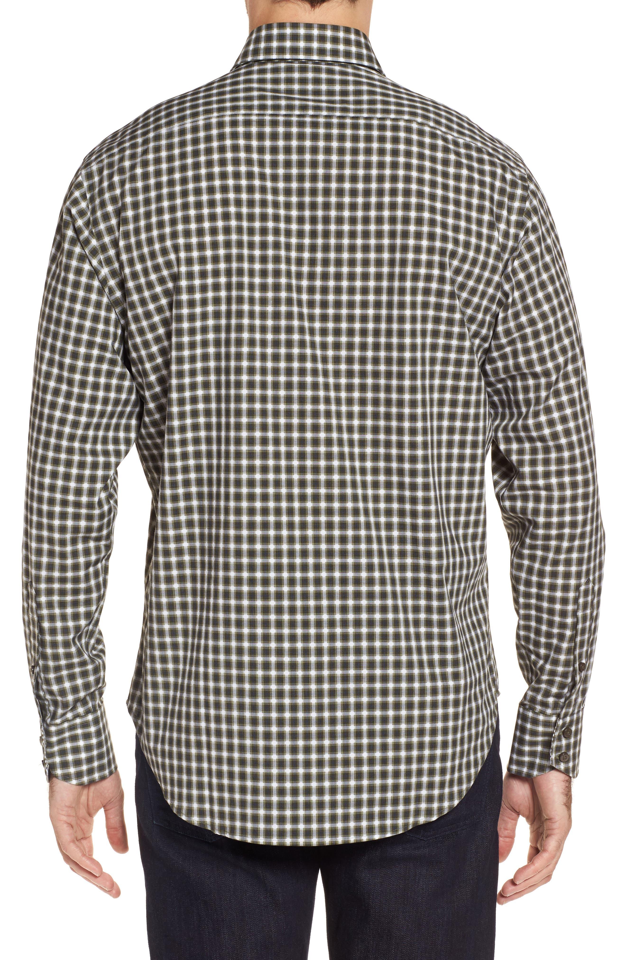 Regular Fit Gradient Check Sport Shirt,                             Alternate thumbnail 2, color,                             Green