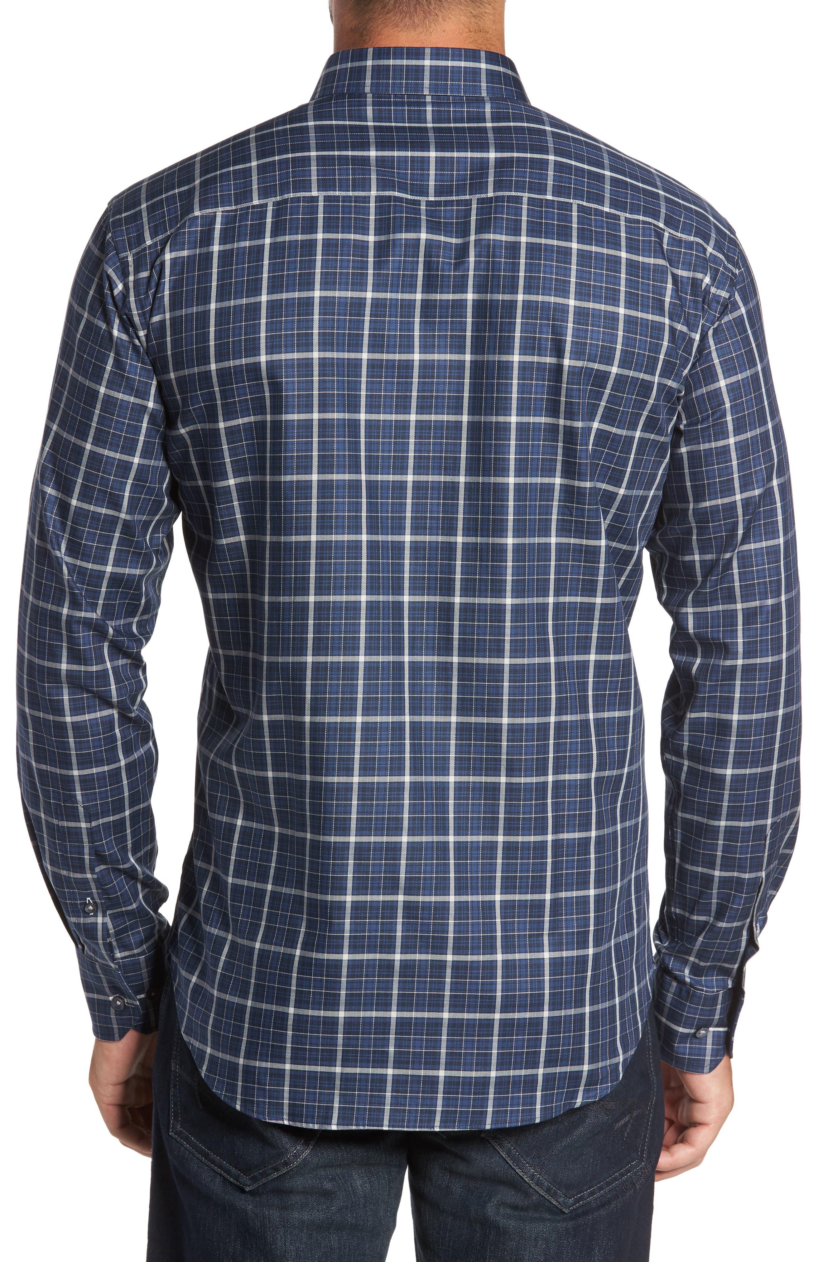 Alternate Image 2  - Bugatchi Trim Fit Windowpane Sport Shirt