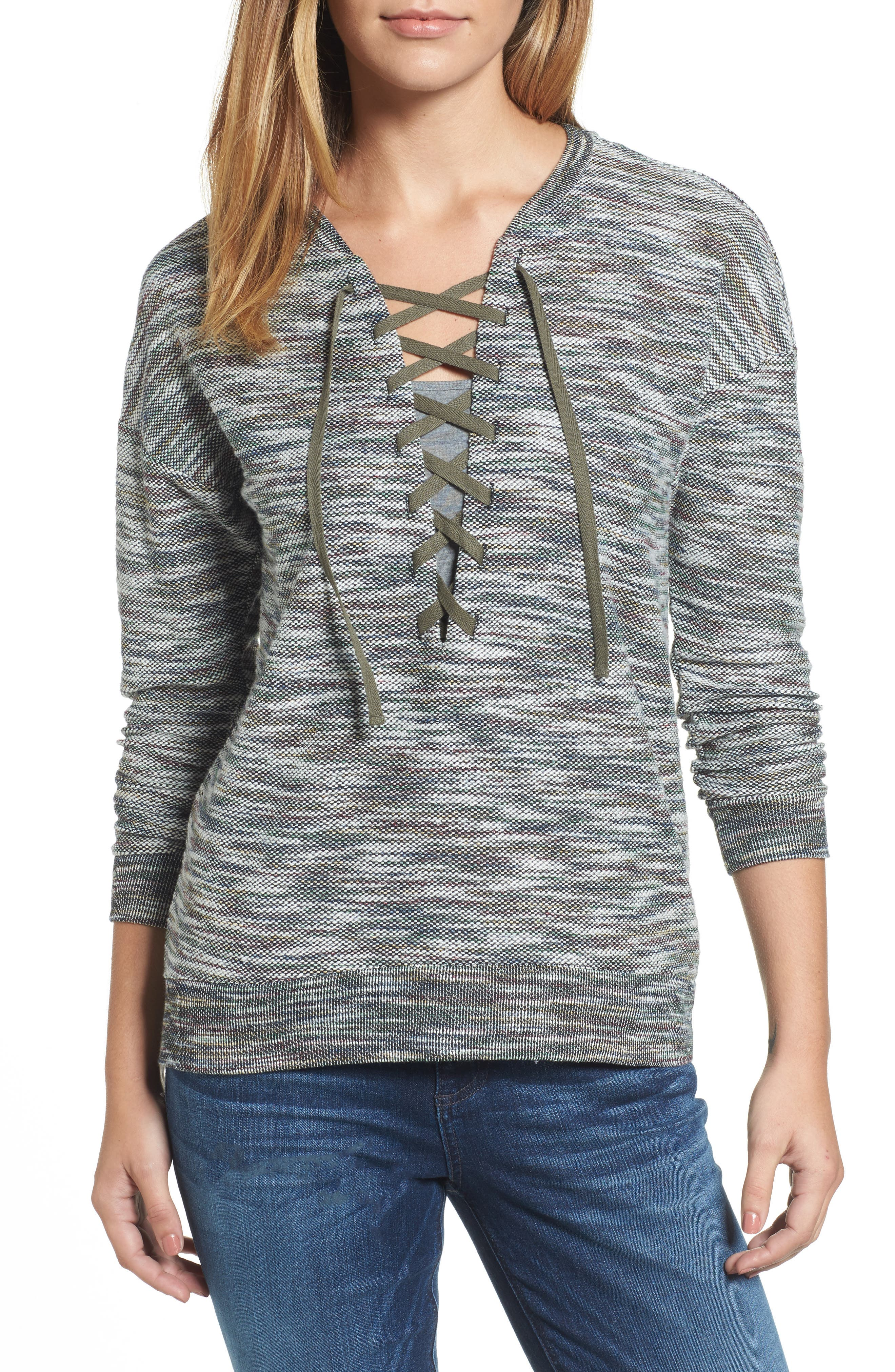 Everly Lace-Up Sweater,                         Main,                         color, Green