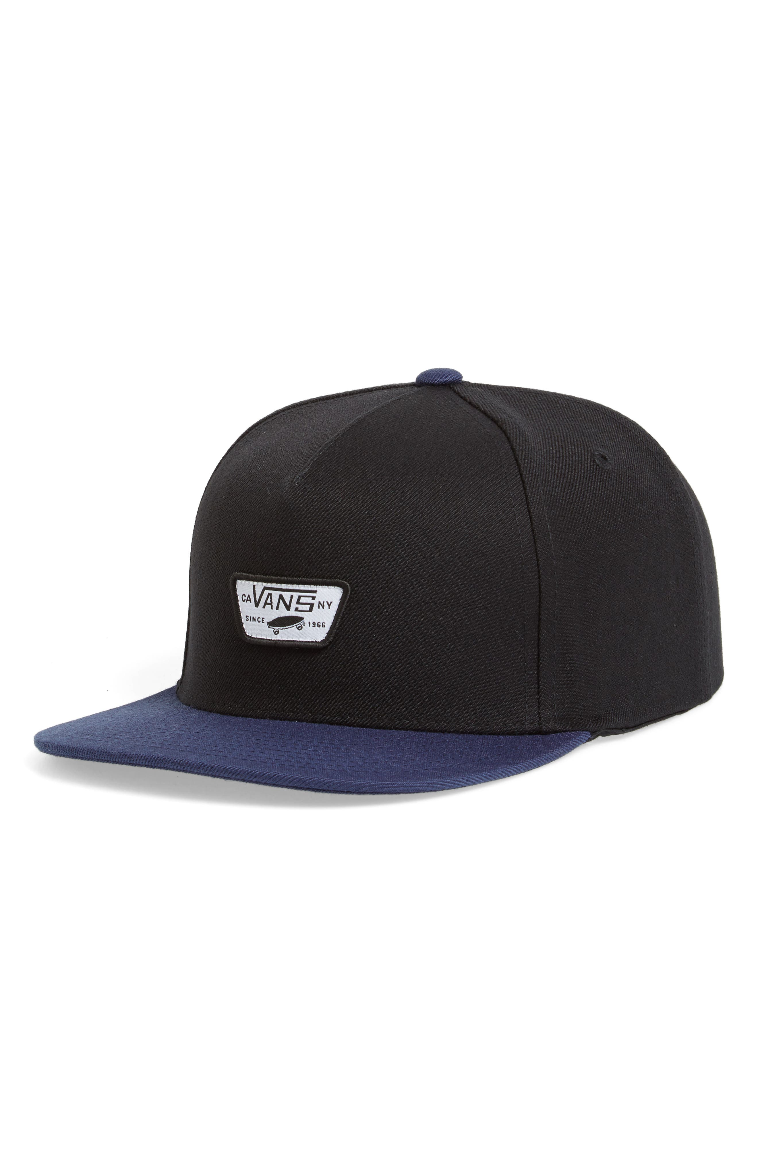 Mini Patch II Snapback Cap,                             Main thumbnail 1, color,                             Black/ Dress Blues