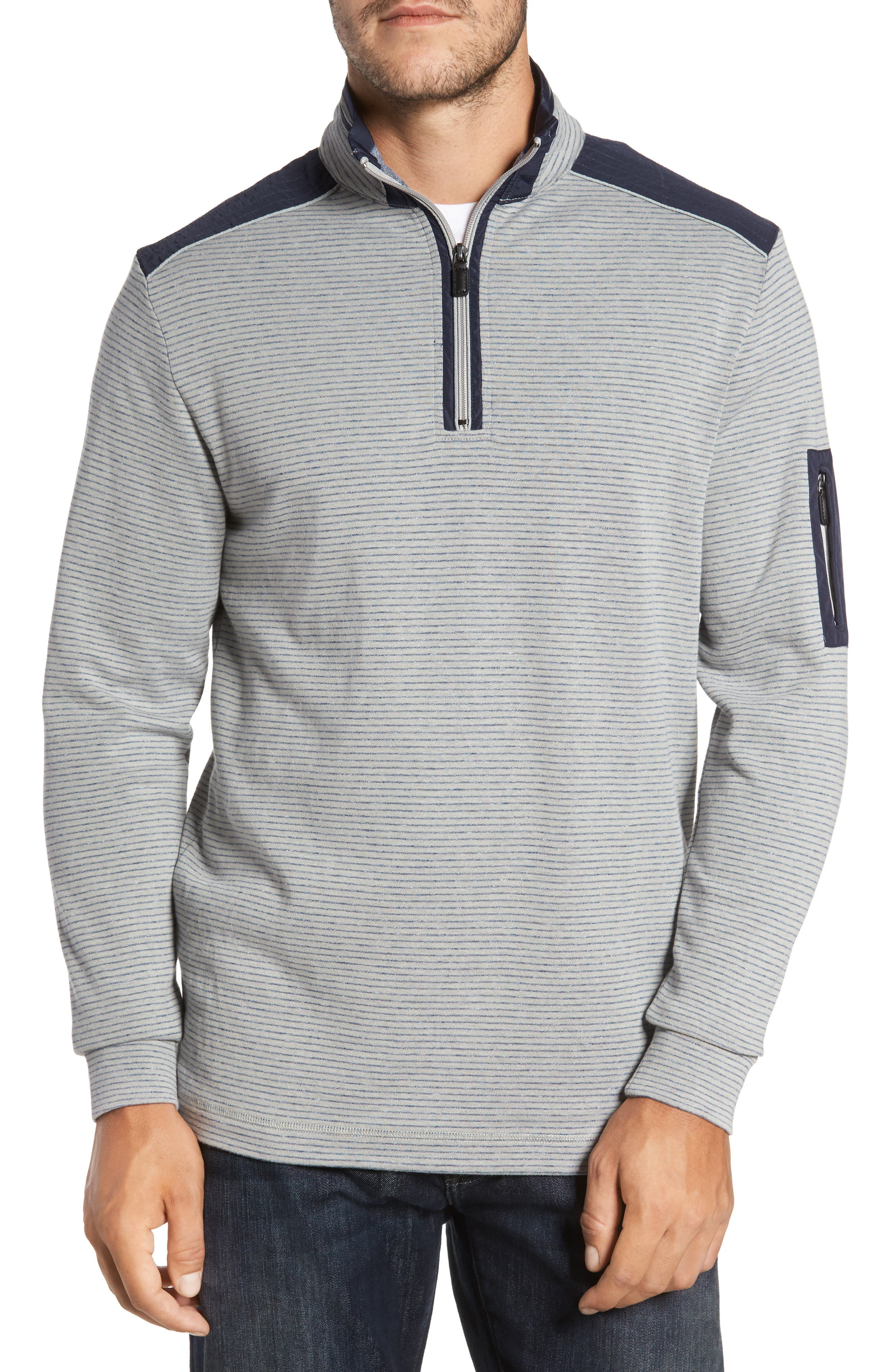 Classic Fit Pinstripe Quarter Zip Pullover,                         Main,                         color, Cement