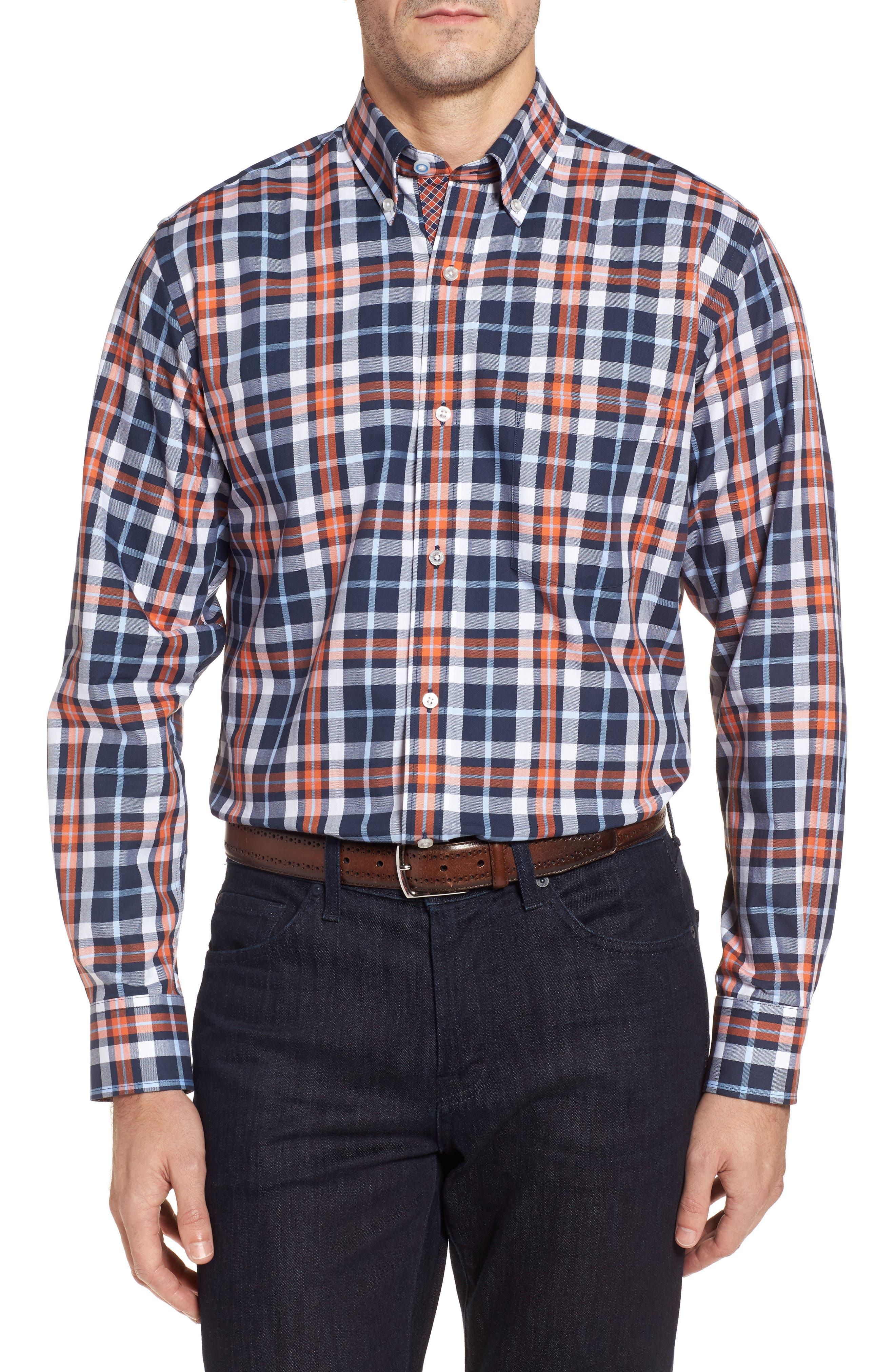 Chatham Regular Fit Plaid Sport Shirt,                         Main,                         color, Navy