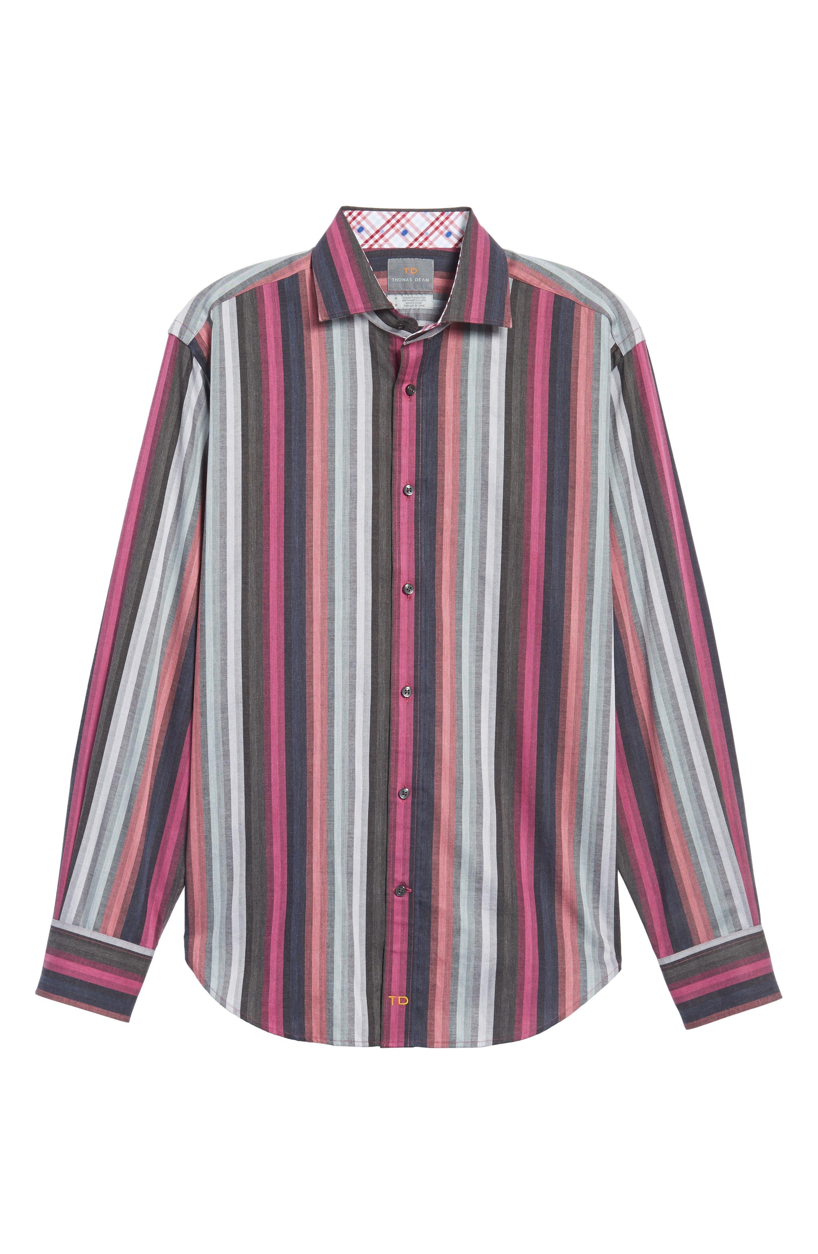 Regular Fit Multicolor Stripe Herringbone Sport Shirt,                             Alternate thumbnail 6, color,                             Pink
