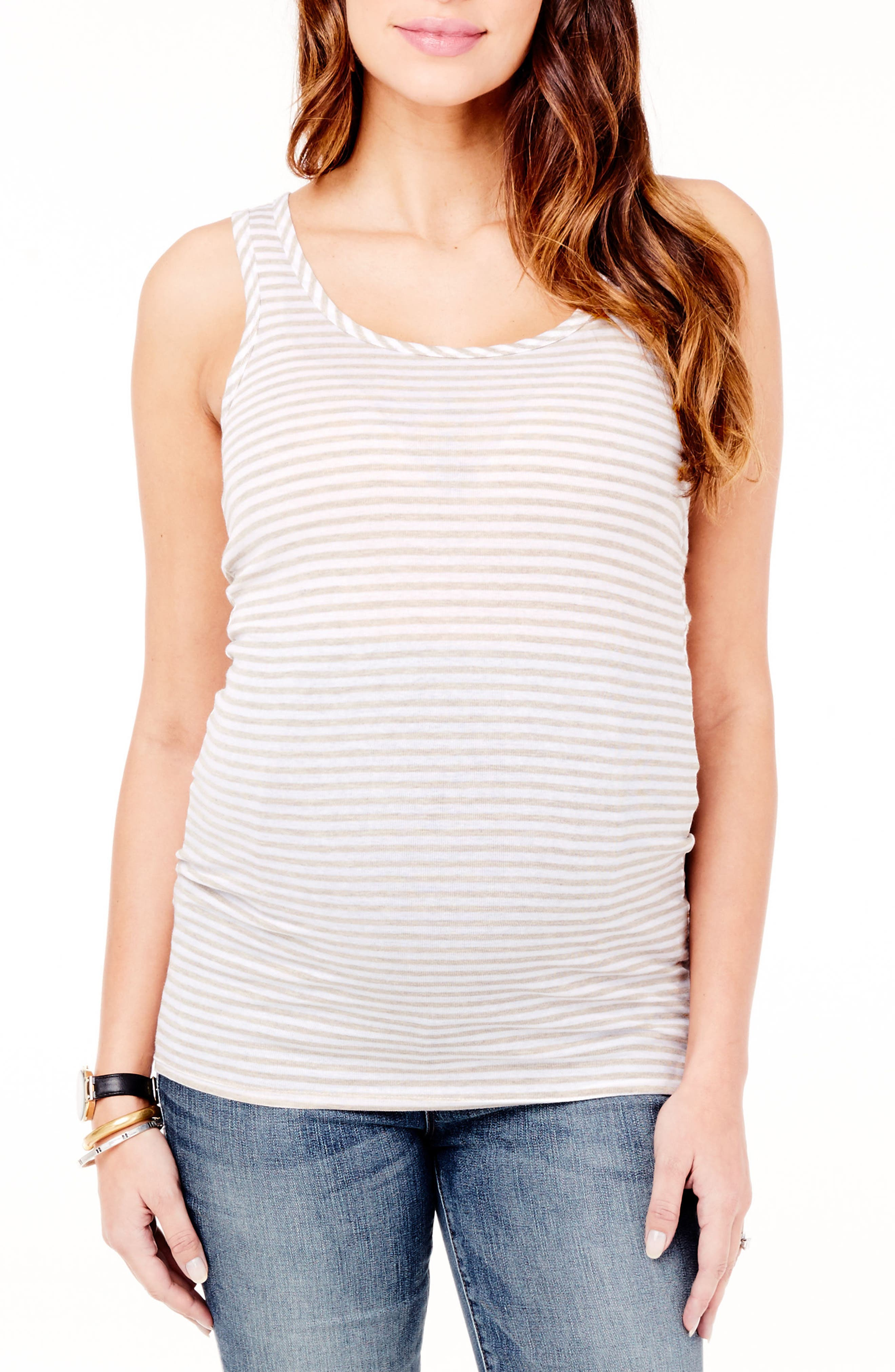 Sleeveless Maternity Top,                             Main thumbnail 1, color,                             Oatmeal Heather/White Strip