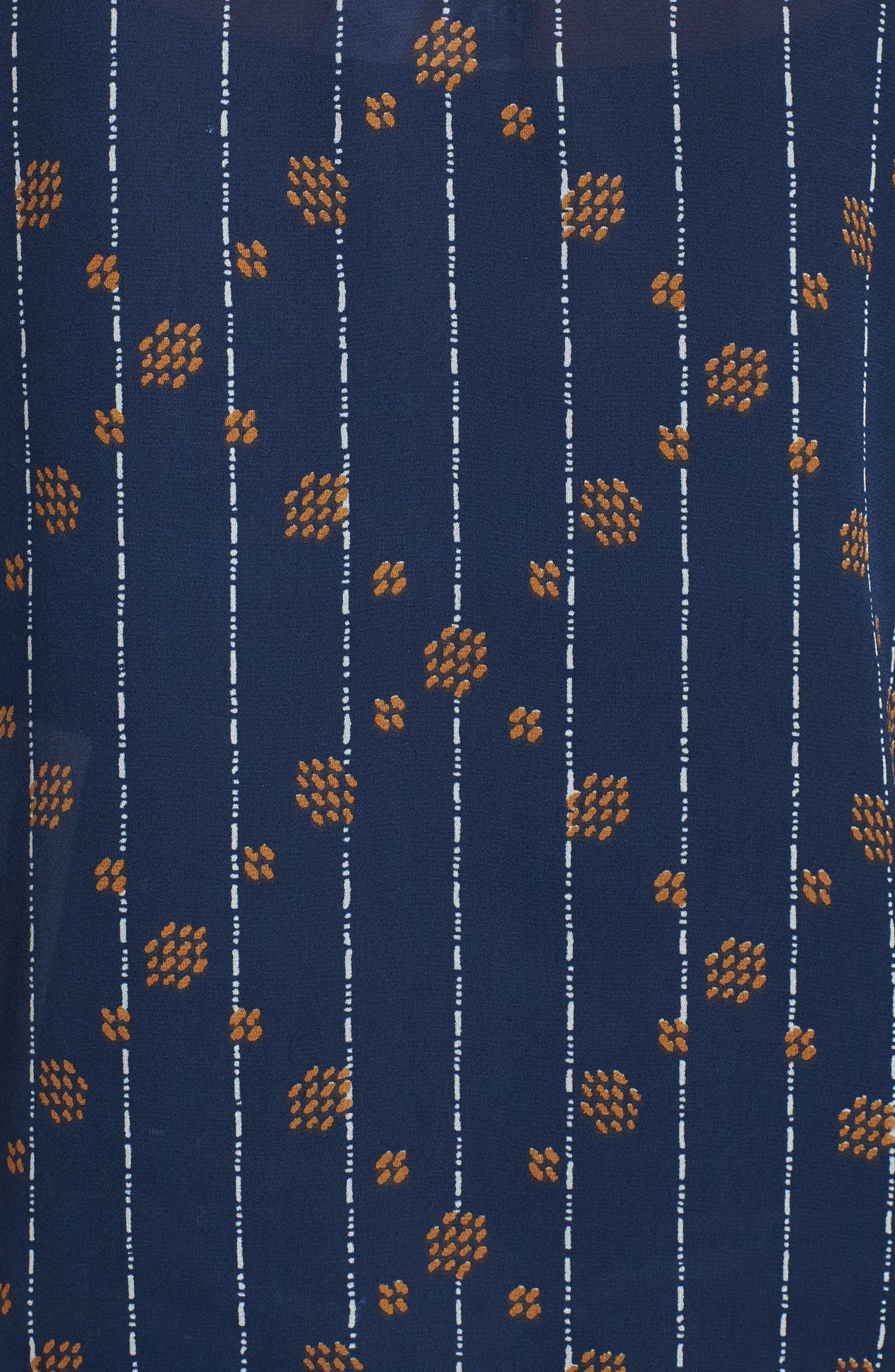 Tie Sleeve Geo Print Top,                             Alternate thumbnail 5, color,                             Navy Multi