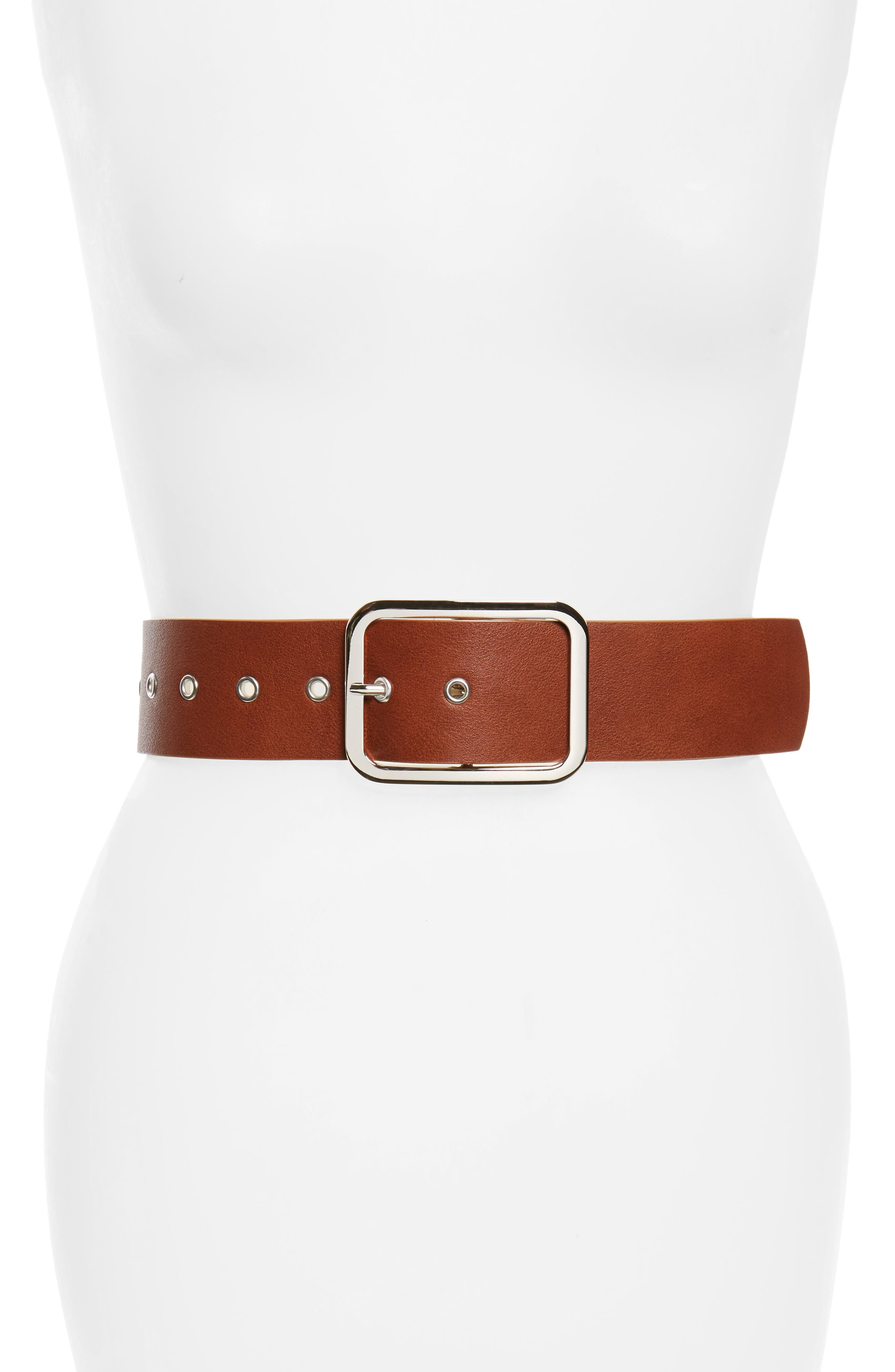Accessory Collective Grommet Buckle Wide Faux Leather Belt,                         Main,                         color, Cognac/ Silver