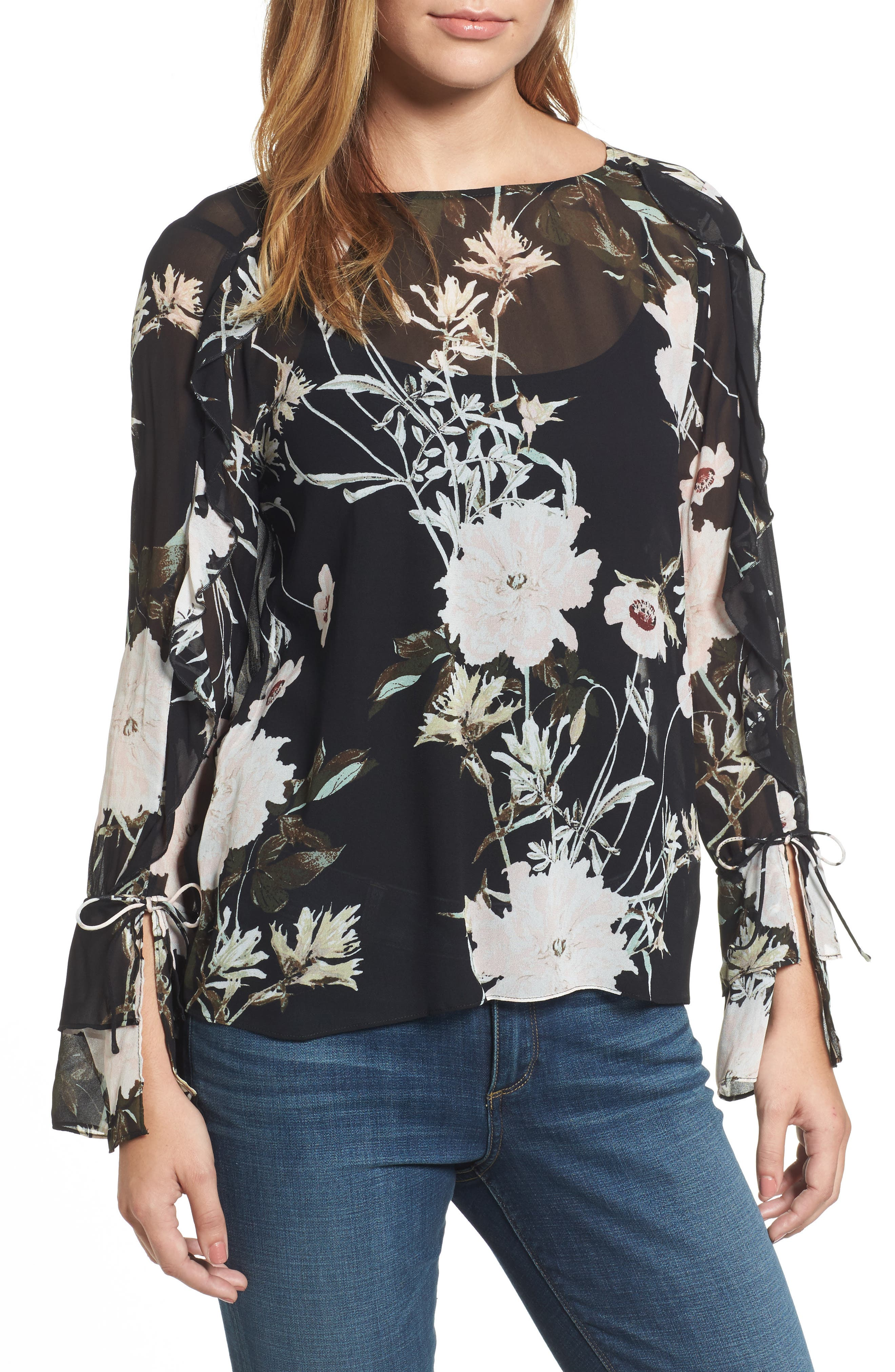 Floral Print Bell Sleeve Top,                             Main thumbnail 1, color,                             Black Multi