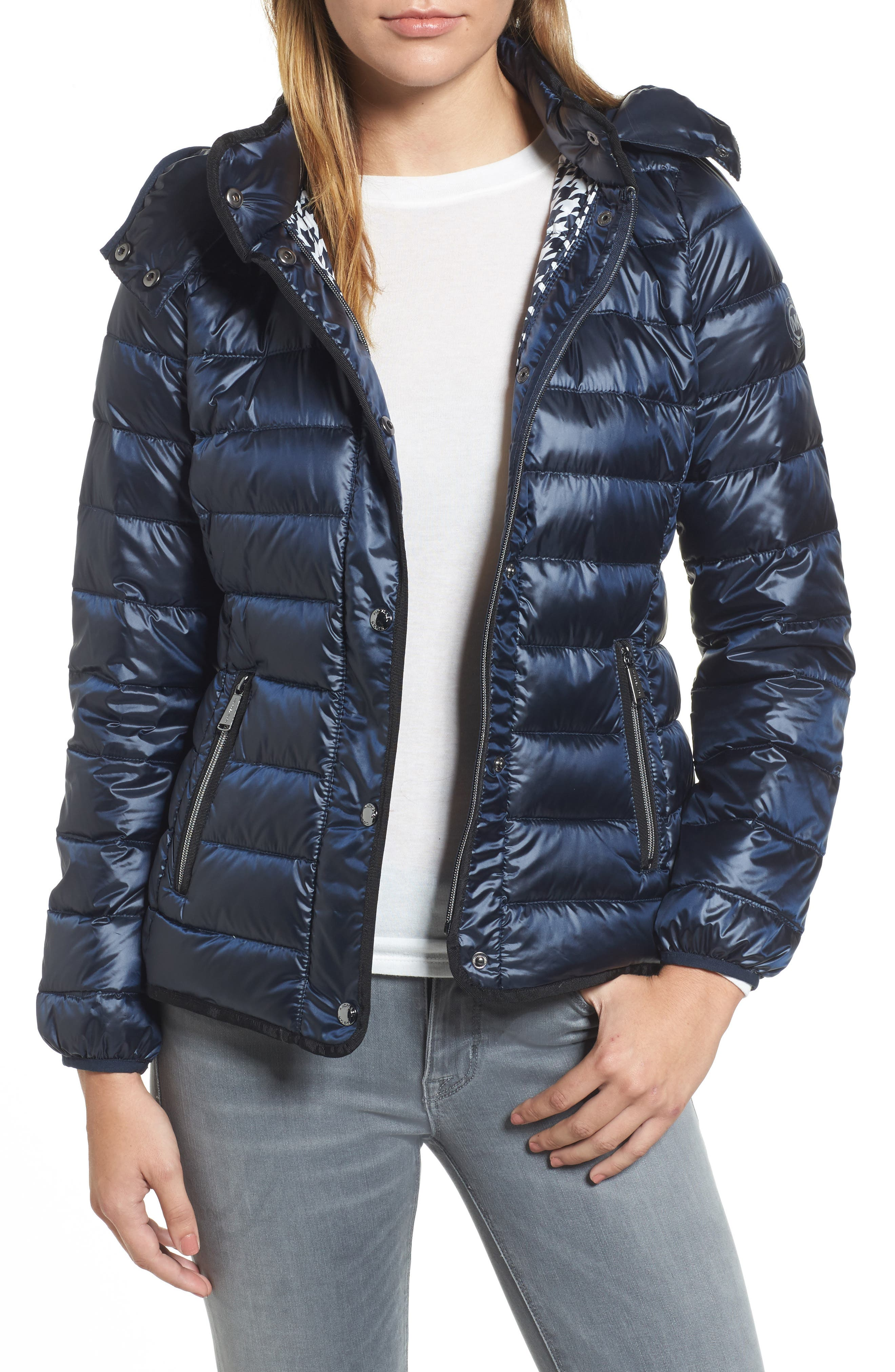 Packable Insulated Jacket with Removable Hood,                         Main,                         color, Dark Navy
