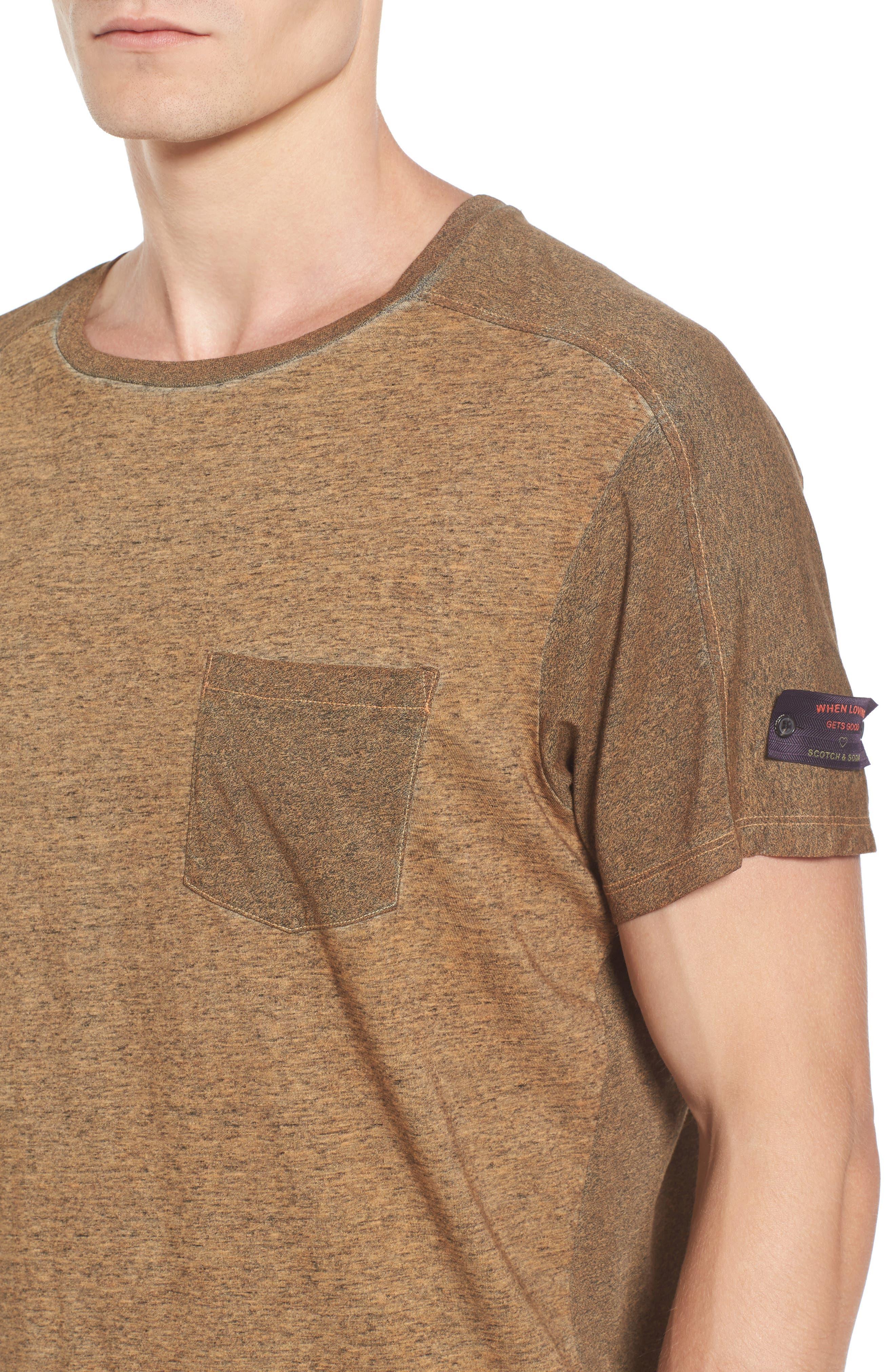 Oil-Washed Pocket T-Shirt,                             Alternate thumbnail 4, color,                             Ginger