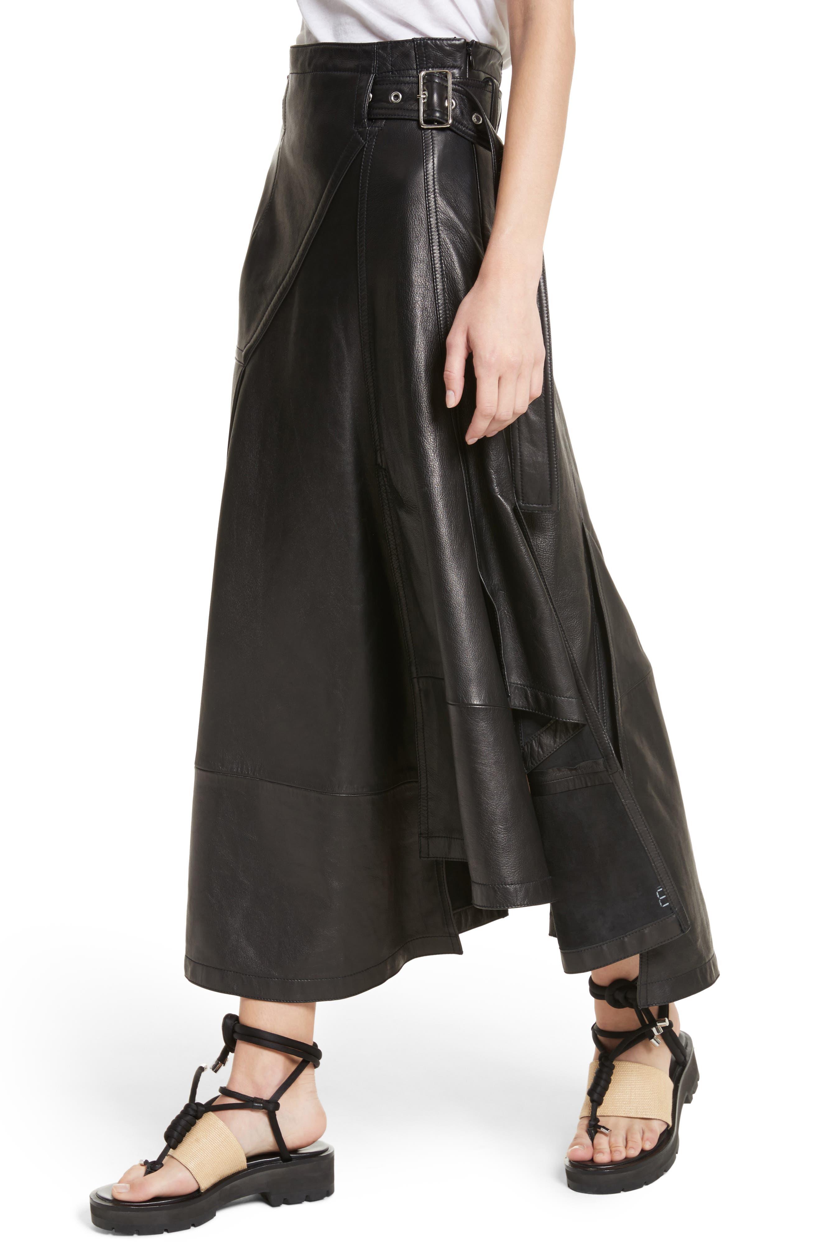 Leather Utility Skirt,                             Alternate thumbnail 4, color,                             Black